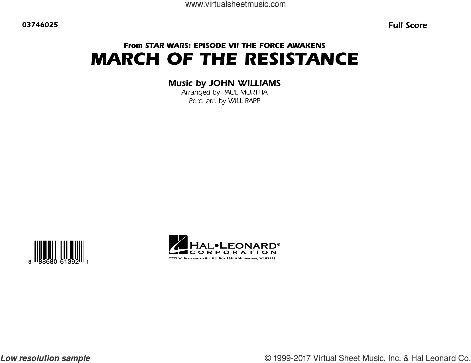 The March of the Resistance (from Star Wars: The Force Awakens) (COMPLETE) sheet music for marching band by Paul Murtha and John Williams, classical score, intermediate