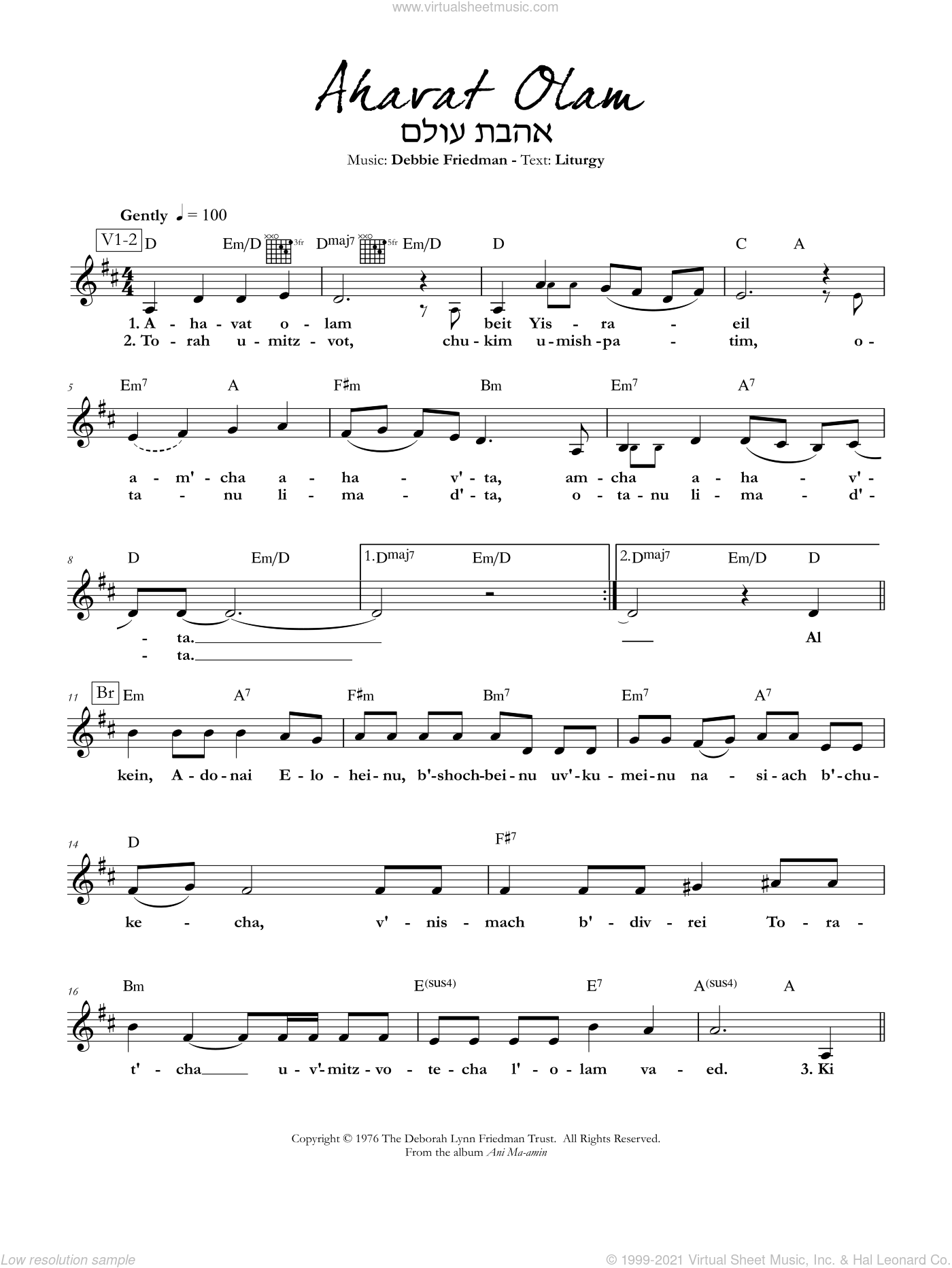Ahavat Olam sheet music for voice and other instruments (fake book) by Debbie Friedman. Score Image Preview.