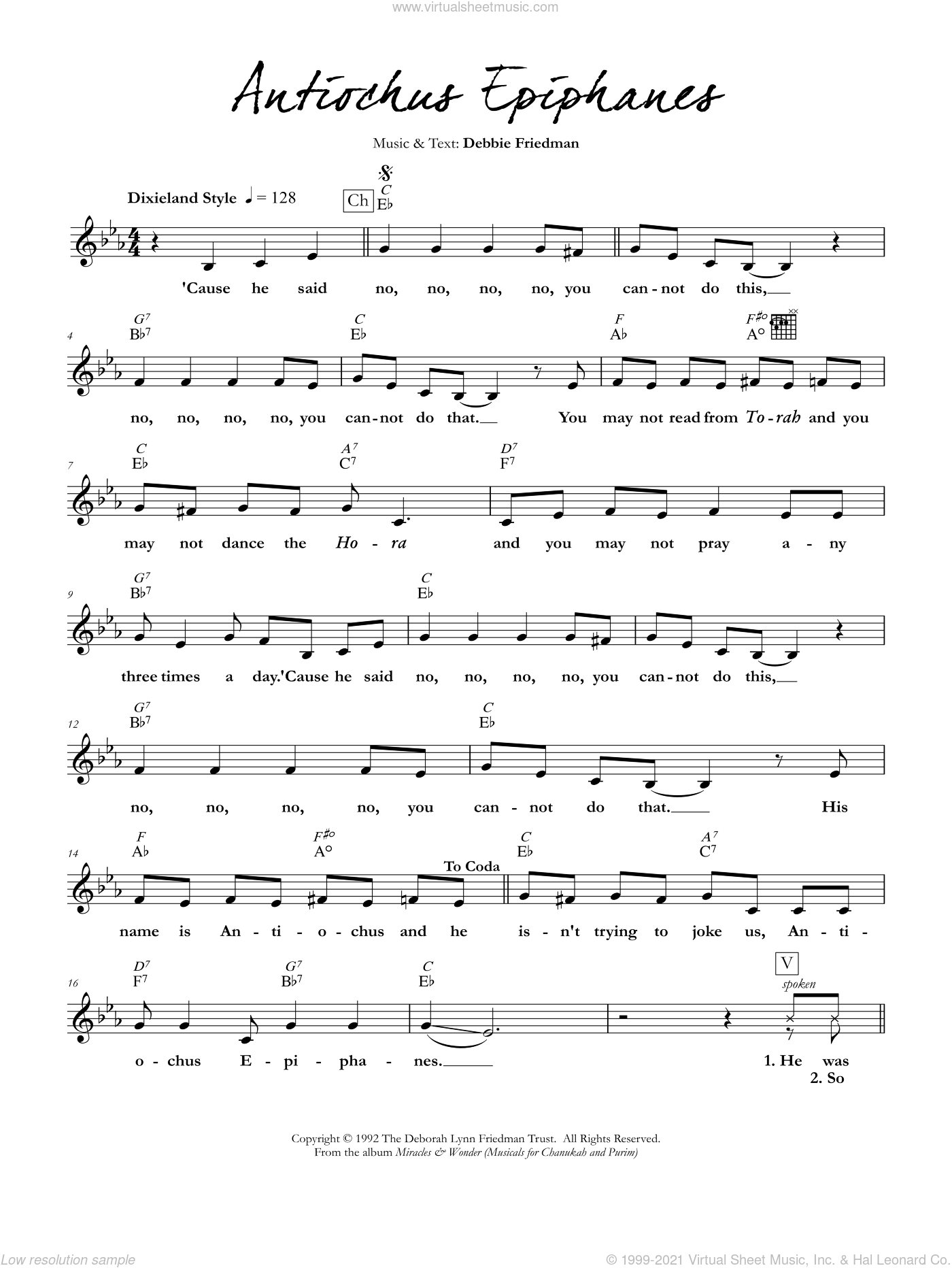 Antiochus Epiphanes sheet music for voice and other instruments (fake book) by Debbie Friedman. Score Image Preview.