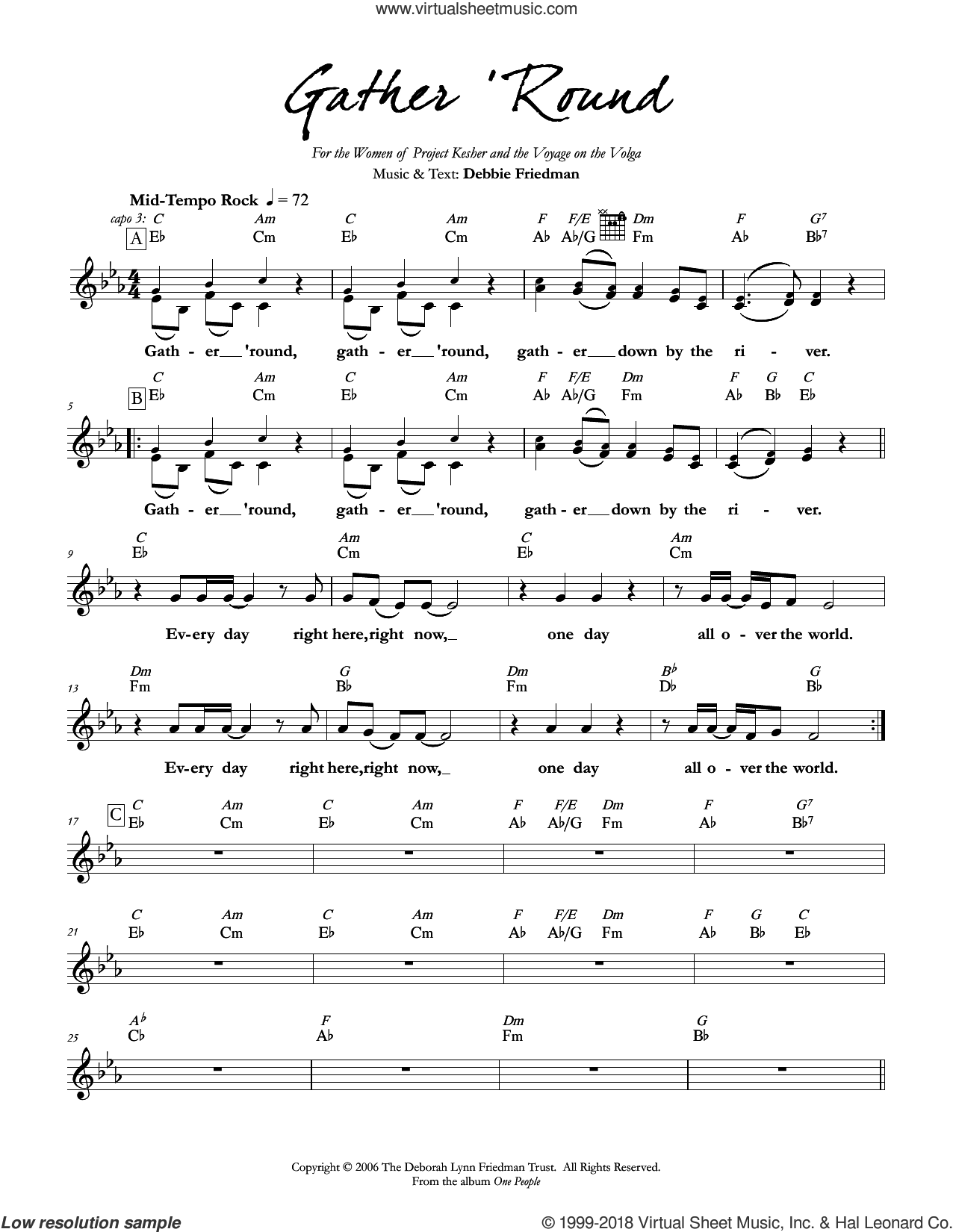Gather 'Round sheet music for voice and other instruments (fake book) by Debbie Friedman. Score Image Preview.