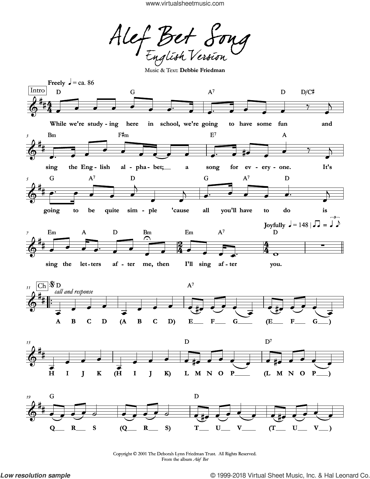 Alef Bet Song (English Version) sheet music for voice and other instruments (fake book) by Debbie Friedman. Score Image Preview.
