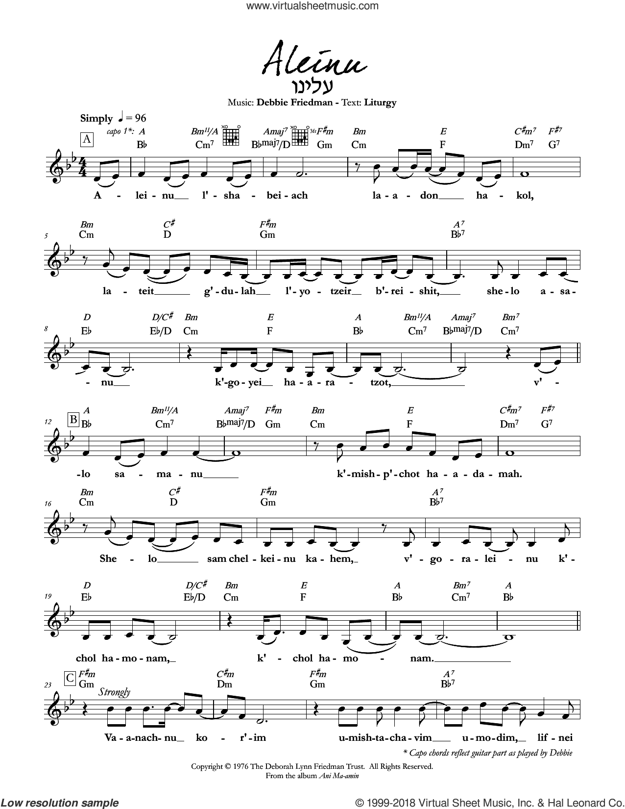 Aleinu sheet music for voice and other instruments (fake book) by Debbie Friedman. Score Image Preview.