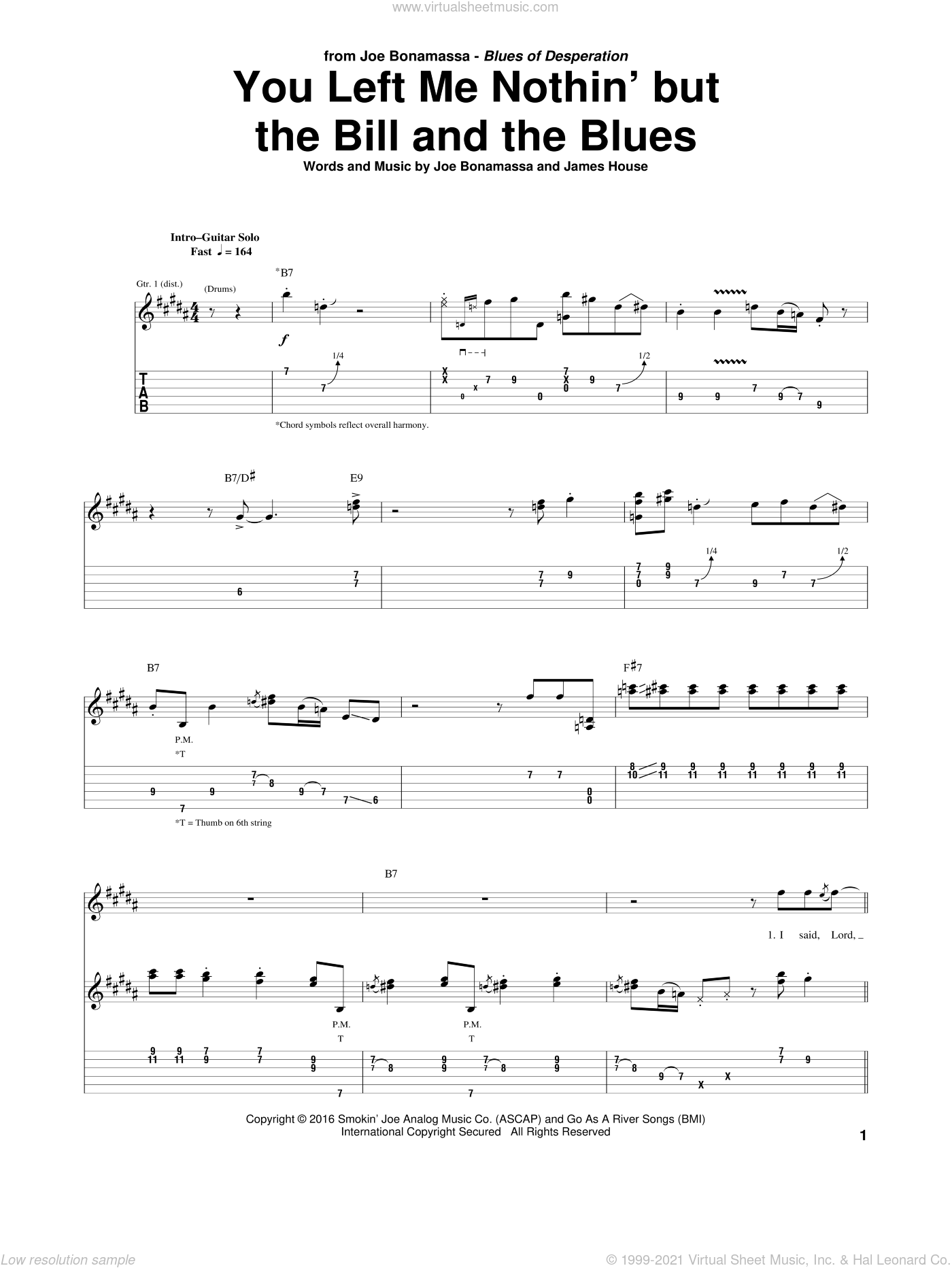 You Left Me Nothin' But The Bill And The Blues sheet music for guitar (tablature) by James House and Joe Bonamassa. Score Image Preview.
