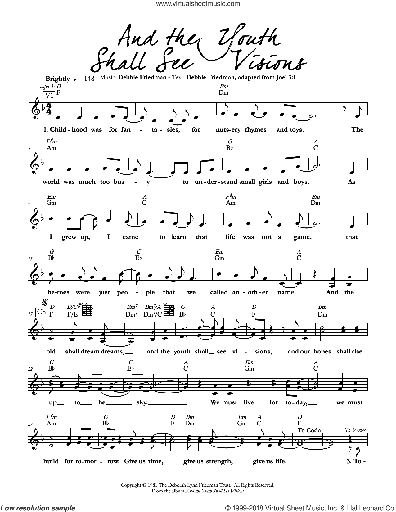 And the Youth Shall See Visions sheet music for voice and other instruments (fake book) by Debbie Friedman, intermediate