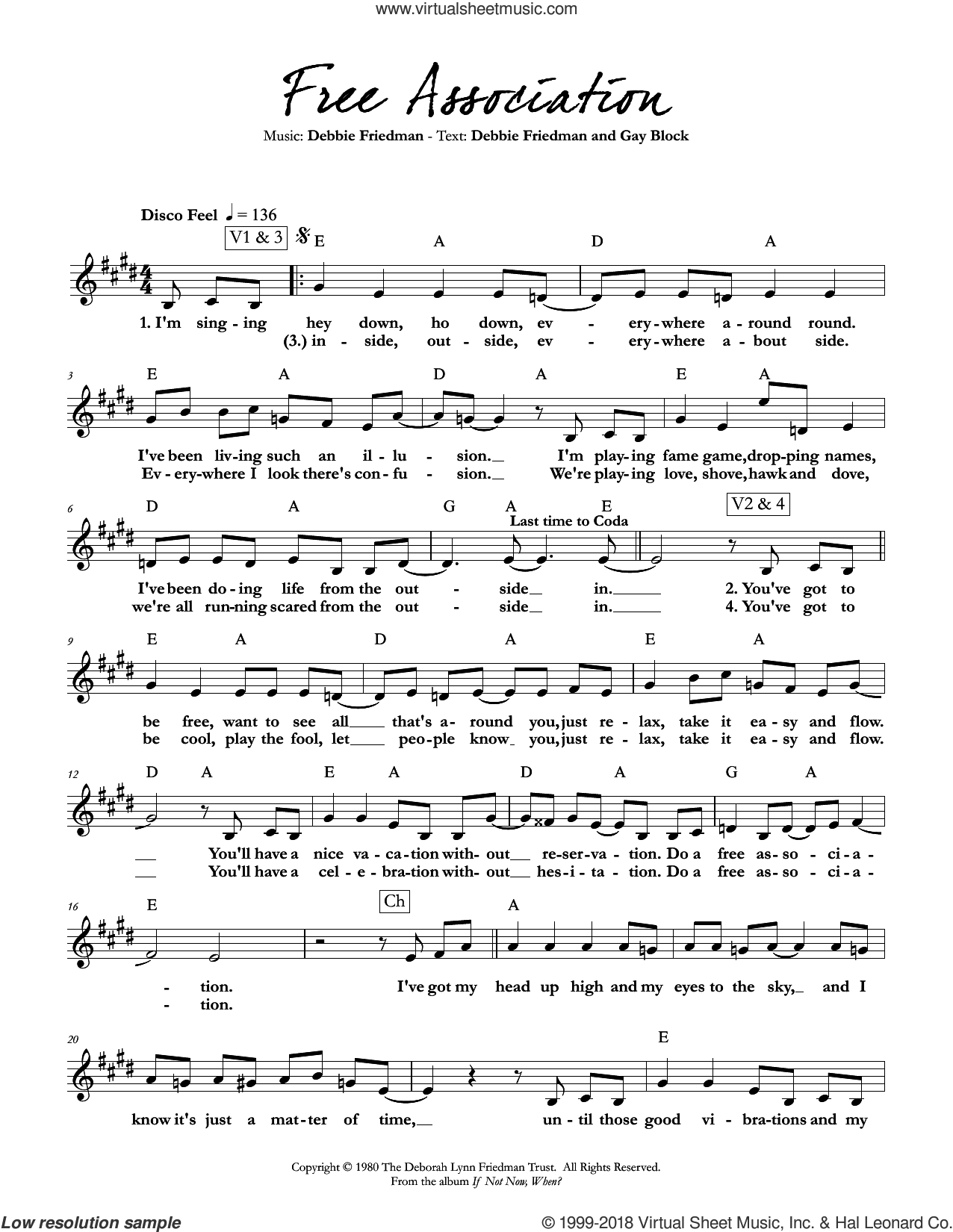 Free Association sheet music for voice and other instruments (fake book) by Debbie Friedman & Gay Block, Debbie Friedman and Gay Block, intermediate skill level