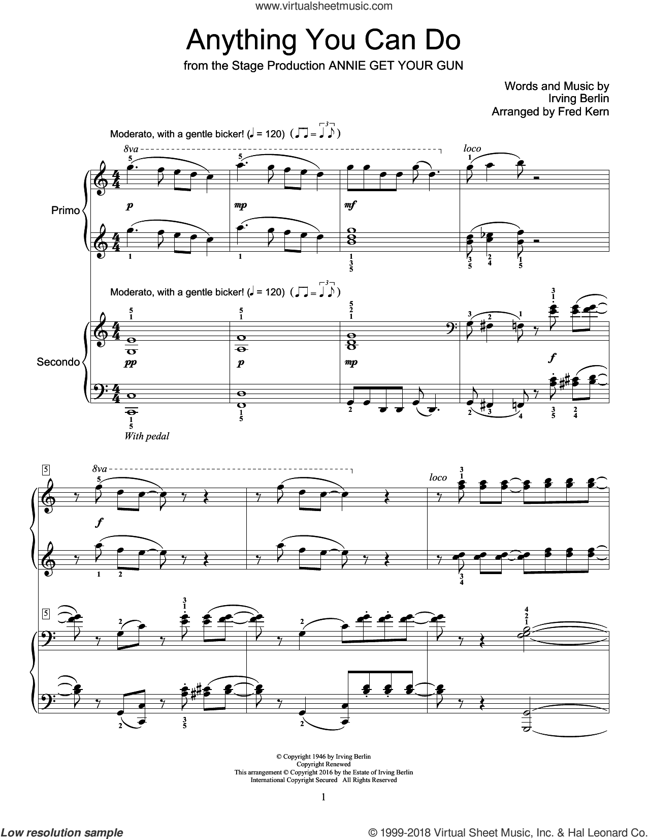 Anything You Can Do sheet music for piano four hands by Irving Berlin and Fred Kern, intermediate skill level
