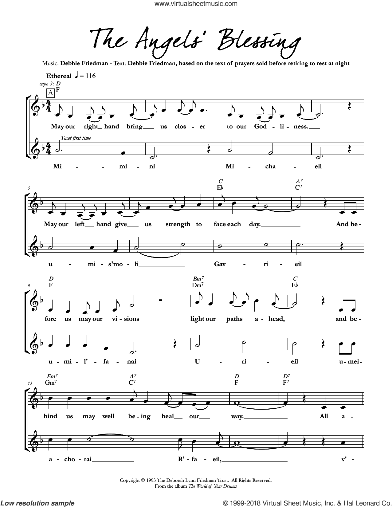 The Angels' Blessing sheet music for voice and other instruments (fake book) by Debbie Friedman, intermediate skill level