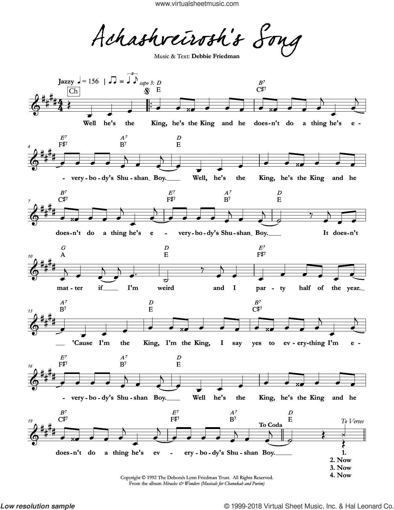 Achashveirosh's Song sheet music for voice and other instruments (fake book) by Debbie Friedman, intermediate voice. Score Image Preview.