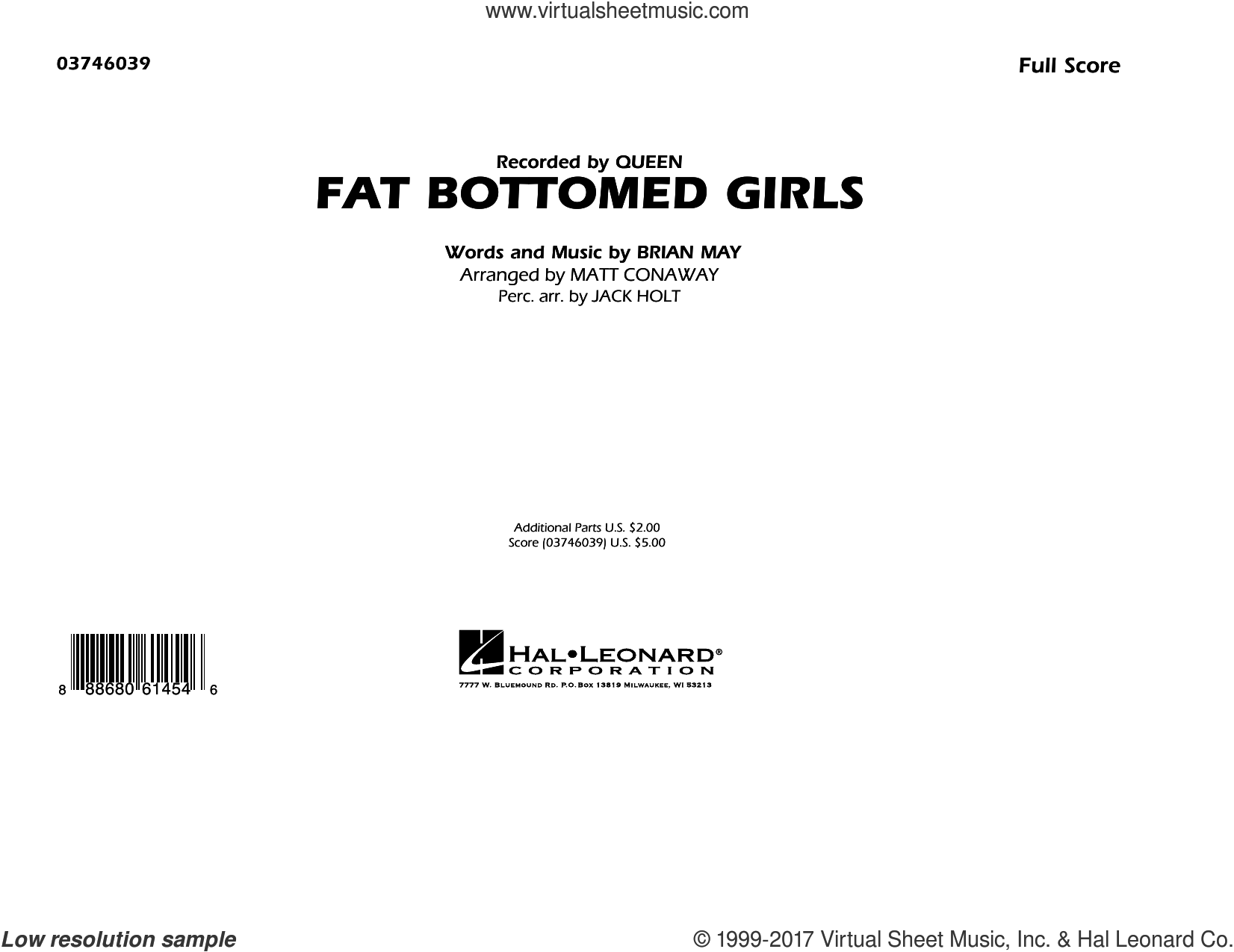 Fat Bottomed Girls (COMPLETE) sheet music for marching band by Queen, Brian May, Jack Holt and Matt Conaway, intermediate skill level