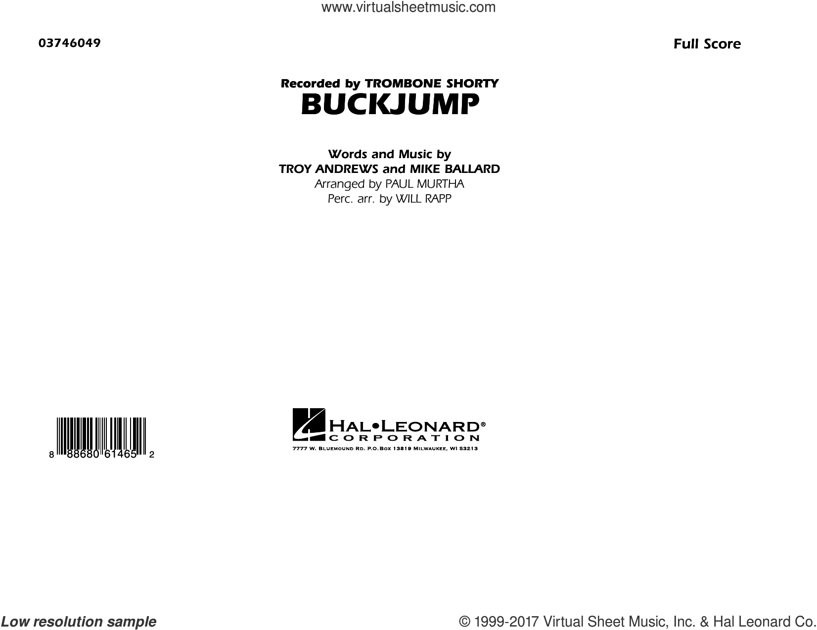 Buckjump (COMPLETE) sheet music for marching band by Paul Murtha, Trombone Shorty and Will Rapp, intermediate marching band. Score Image Preview.