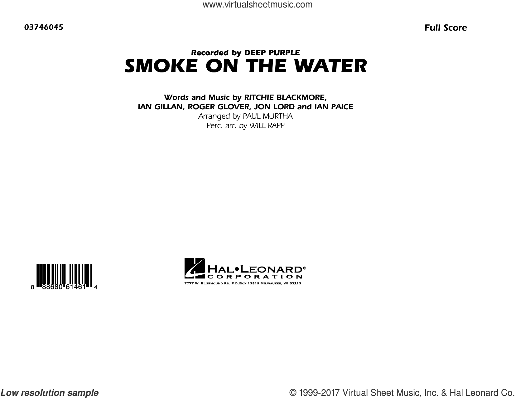 Smoke on the Water (COMPLETE) sheet music for marching band by Paul Murtha, Deep Purple and Will Rapp, intermediate. Score Image Preview.