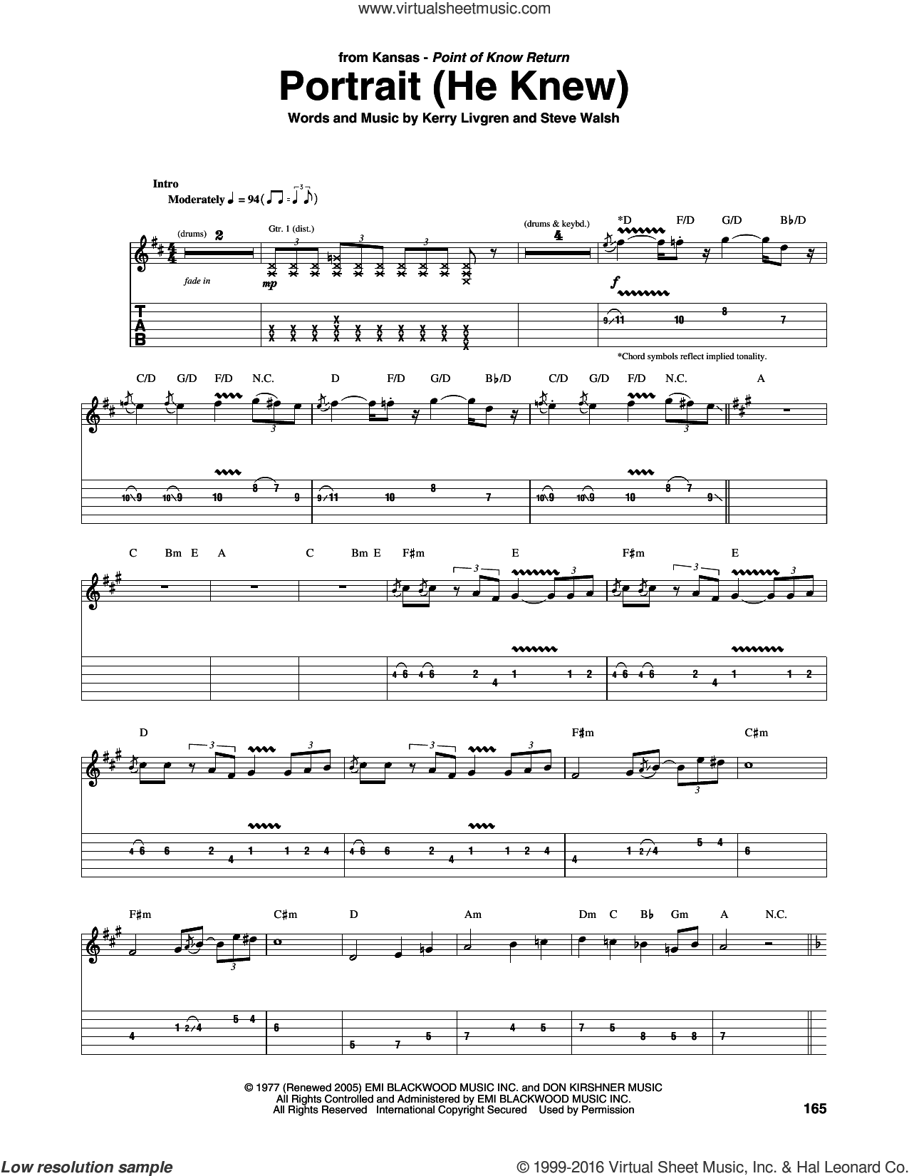 Portrait (He Knew) sheet music for guitar (tablature) by Steve Walsh, Kansas and Kerry Livgren. Score Image Preview.