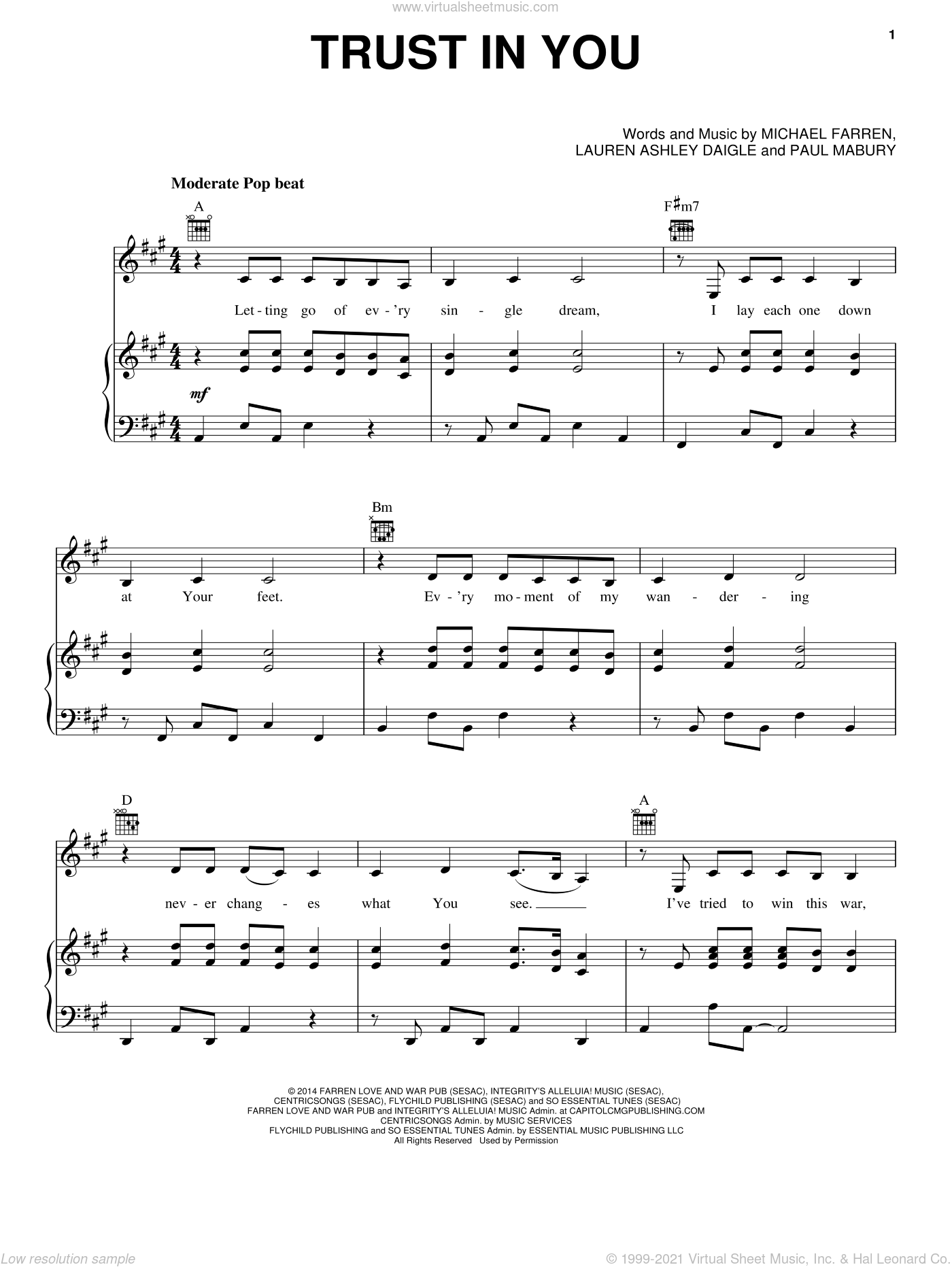 Trust In You sheet music for voice, piano or guitar by Lauren Daigle, Michael Farren and Paul Mabury, intermediate skill level