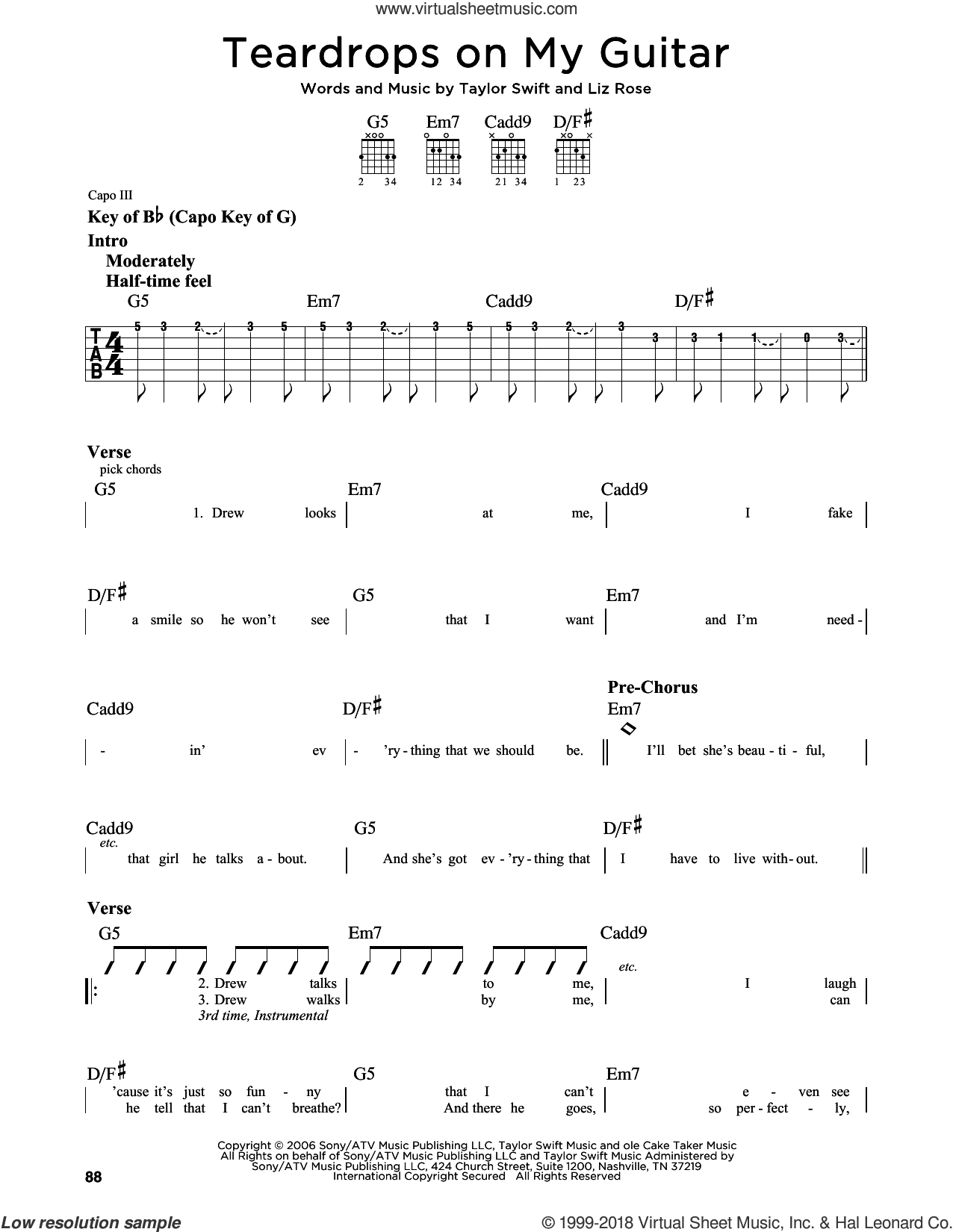 Teardrops On My Guitar sheet music for guitar solo (lead sheet) by Taylor Swift and Liz Rose, intermediate guitar (lead sheet). Score Image Preview.