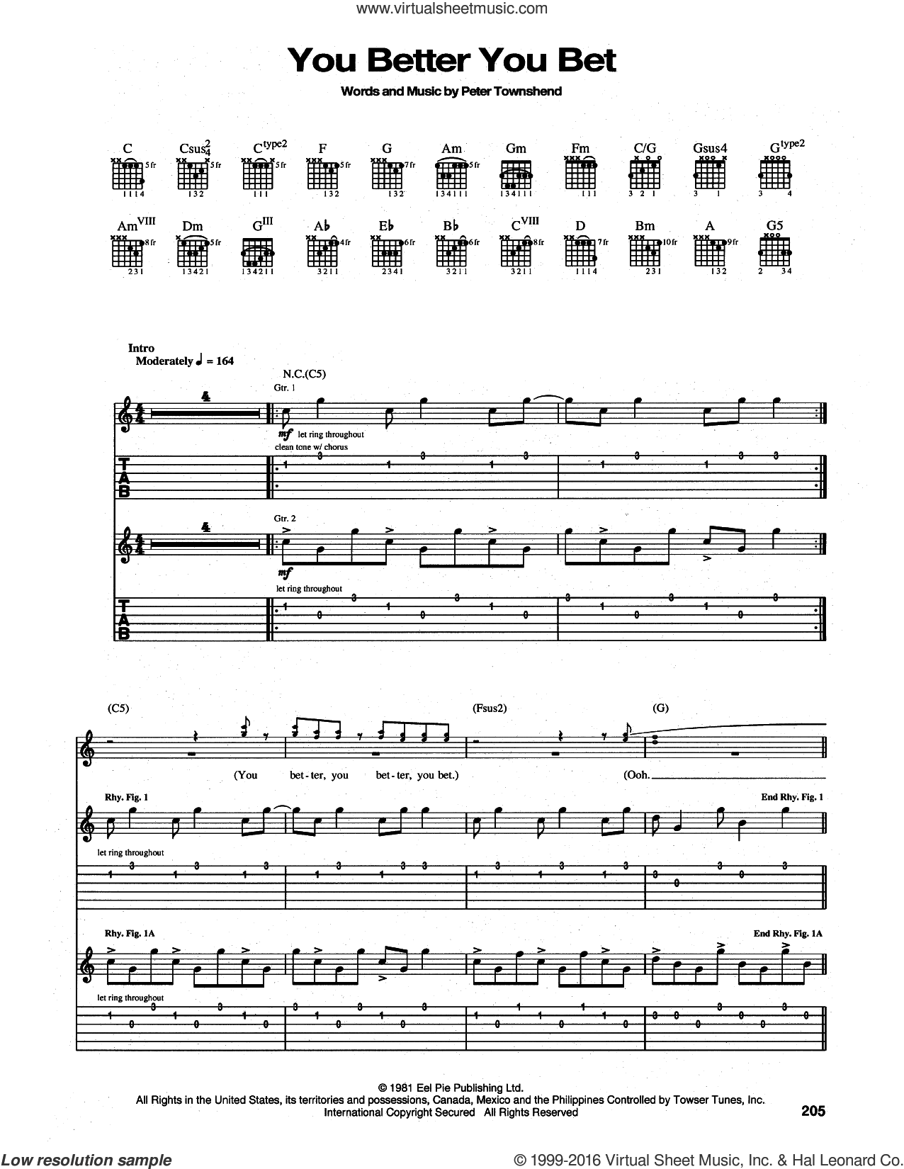 You Better You Bet sheet music for guitar (tablature) by Pete Townshend and The Who. Score Image Preview.