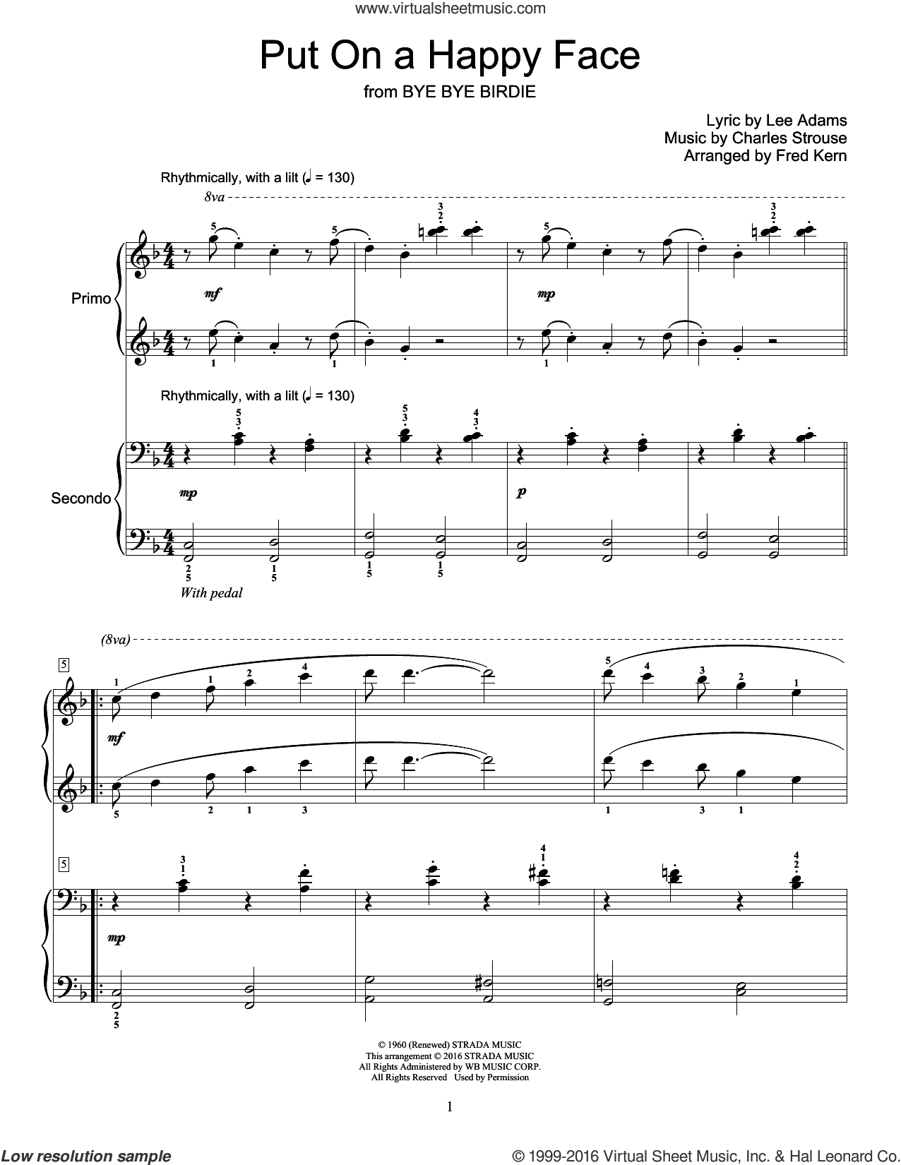 Put On A Happy Face sheet music for piano four hands by Charles Strouse, Fred Kern and Lee Adams, intermediate skill level