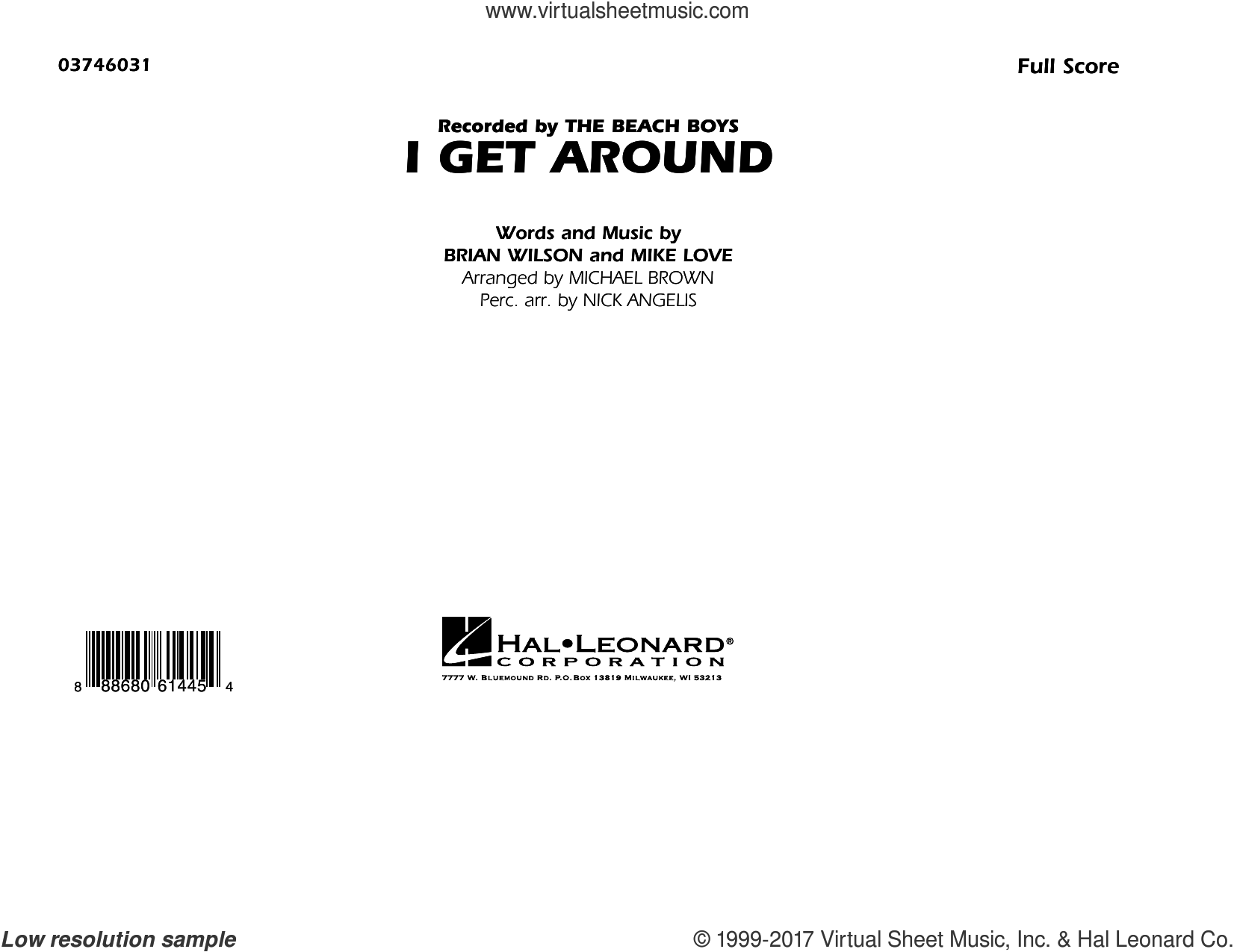 I Get Around (COMPLETE) sheet music for marching band by The Beach Boys, Brian Wilson, Michael Brown, Mike Love and Nick Angelis, intermediate