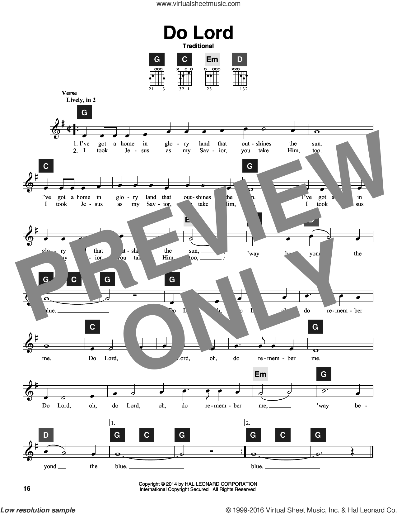 Do Lord sheet music for guitar solo (ChordBuddy system). Score Image Preview.