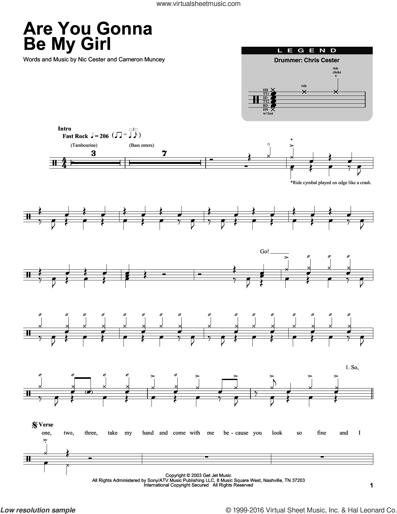Are You Gonna Be My Girl sheet music for drums by Nic Cester and Cameron Muncey, intermediate skill level