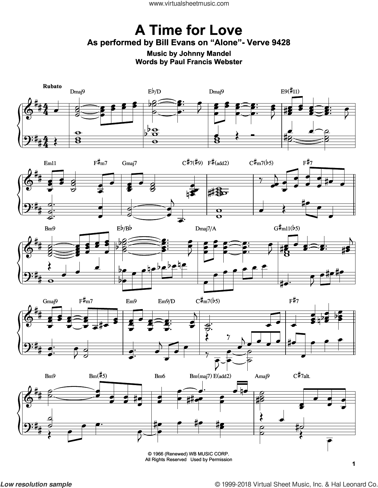 A Time For Love sheet music for piano solo (transcription) by Bill Evans, Johnny Mandel and Paul Francis Webster, intermediate piano (transcription)