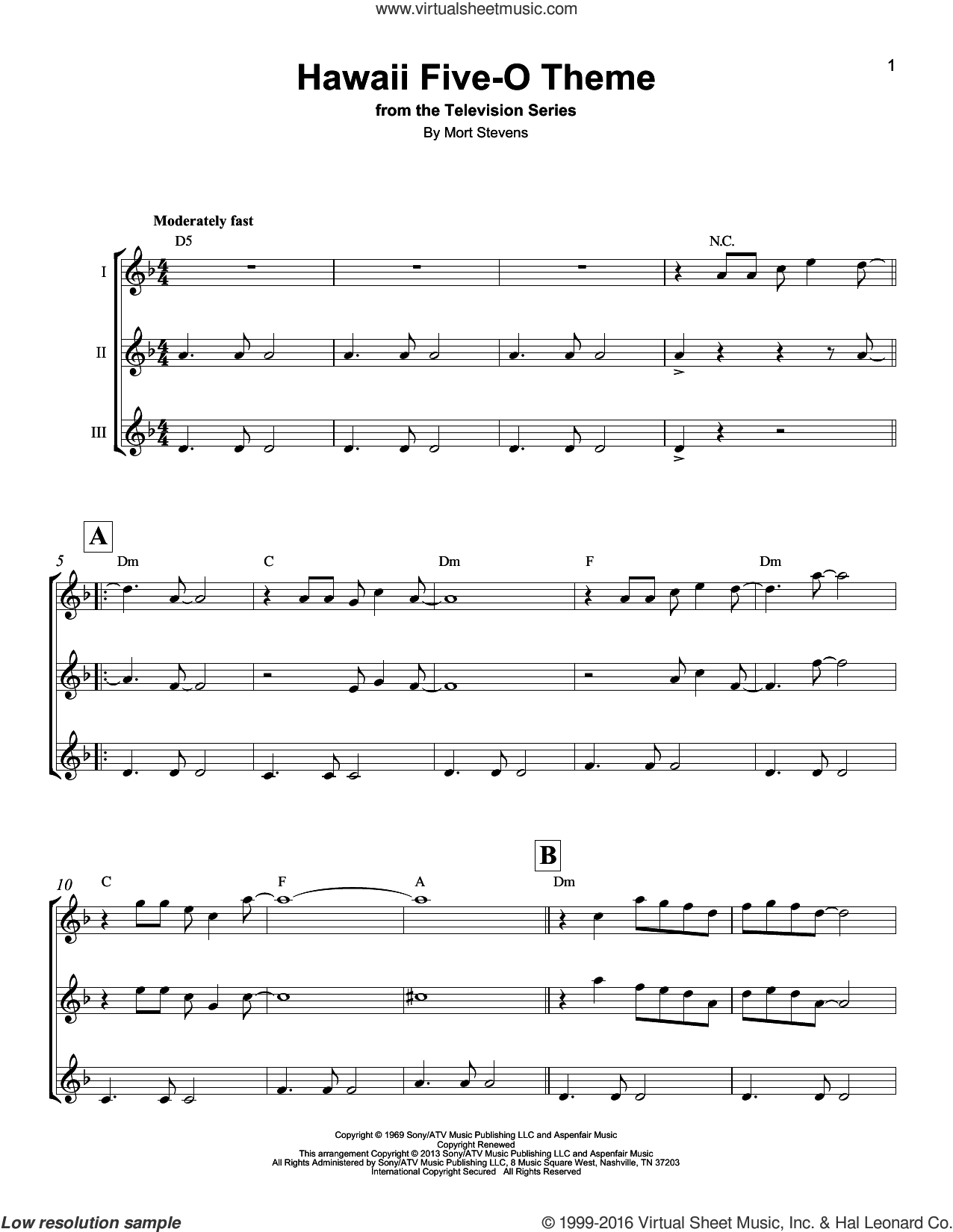 Hawaii Five-O Theme sheet music for ukulele ensemble by The Ventures and Mort Stevens, intermediate skill level