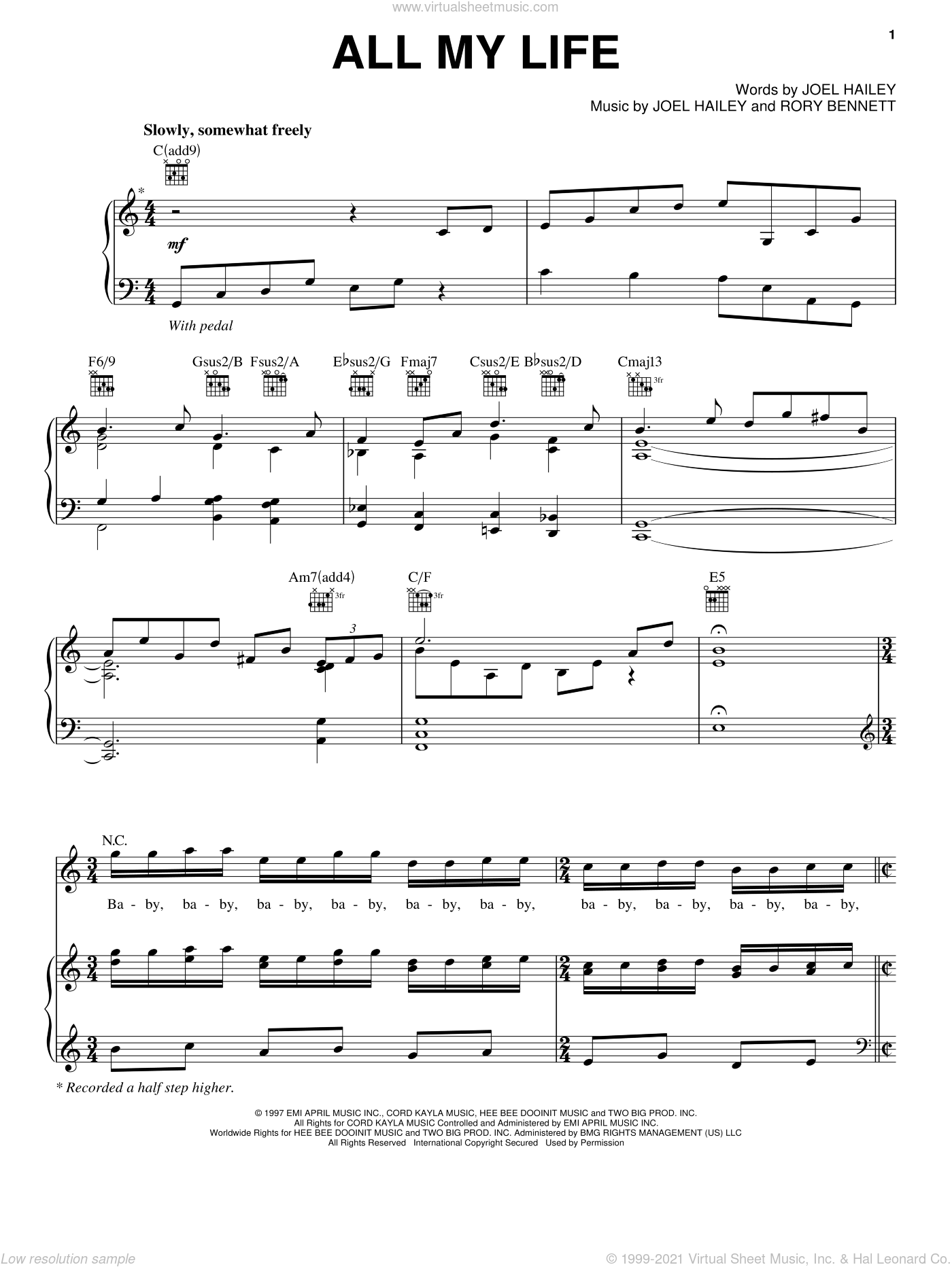 All My Life sheet music for voice, piano or guitar by K-Ci & JoJo, Joel Hailey and Rory Bennett, intermediate skill level