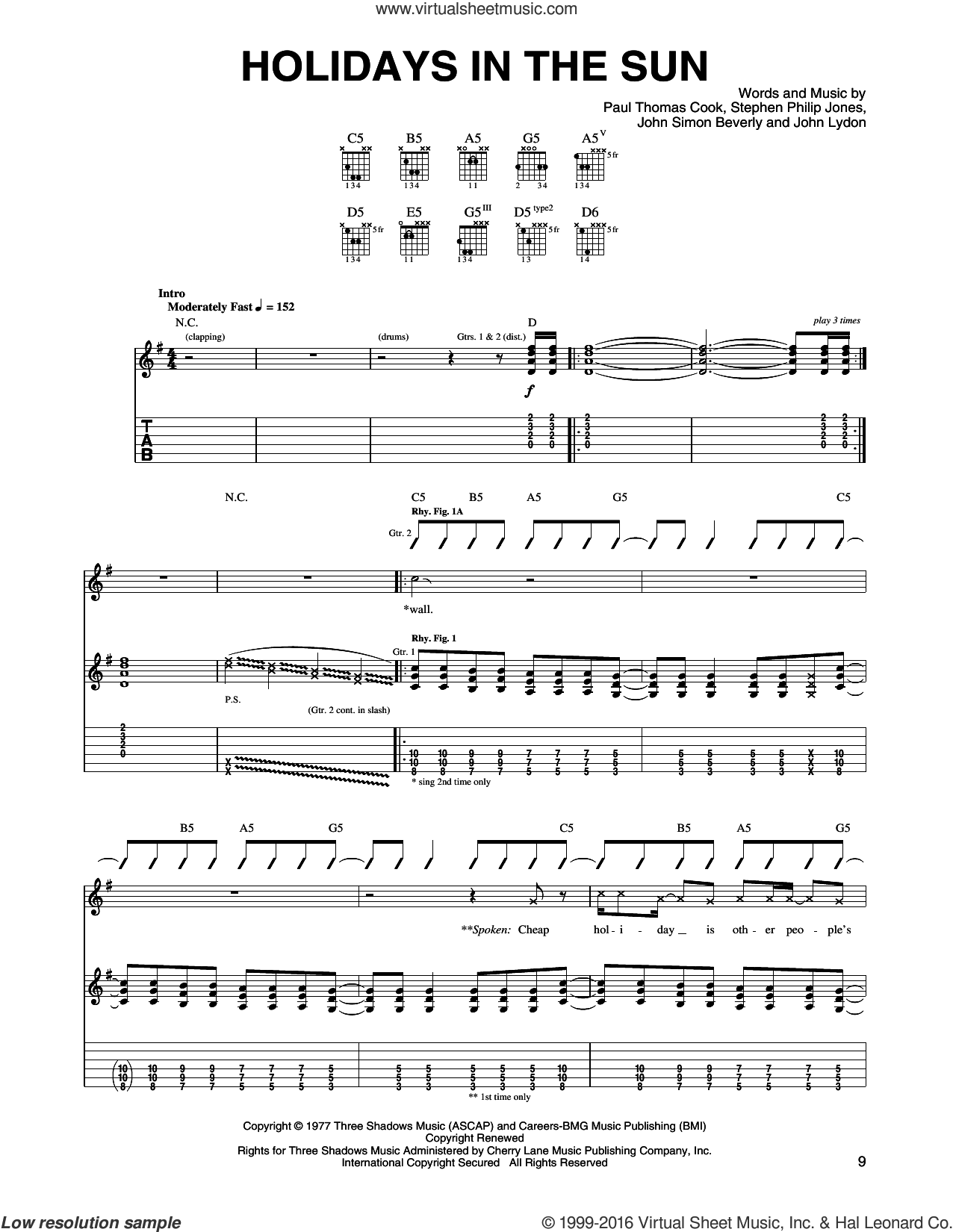 Holidays In The Sun sheet music for guitar (tablature) by Sex Pistols, intermediate guitar (tablature). Score Image Preview.