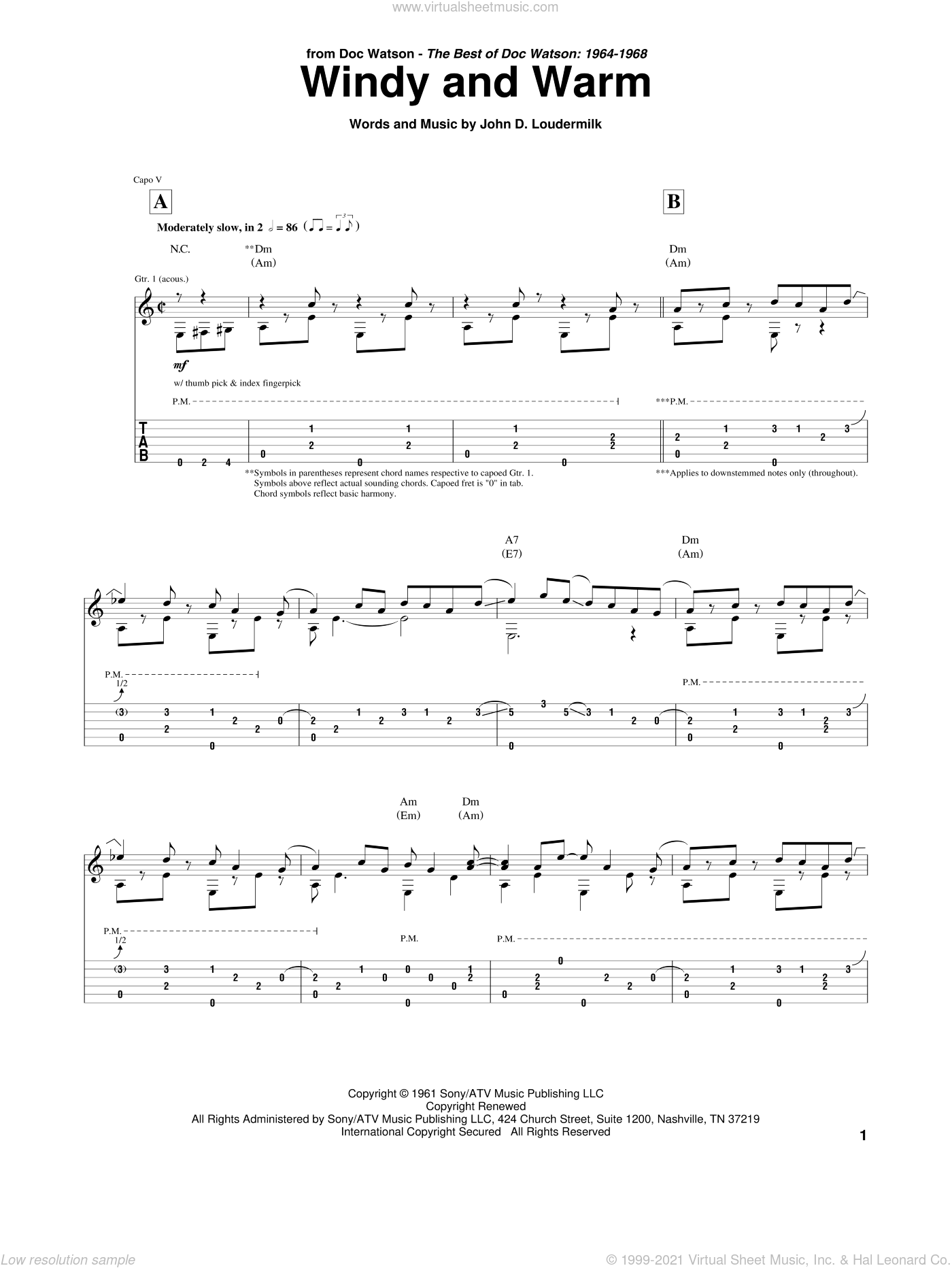 Windy And Warm sheet music for guitar (tablature) by John D. Loudermilk and Chet Atkins. Score Image Preview.