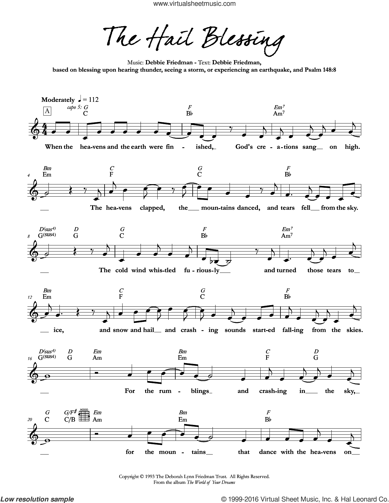 The Hail Blessing sheet music for voice and other instruments (fake book) by Debbie Friedman. Score Image Preview.