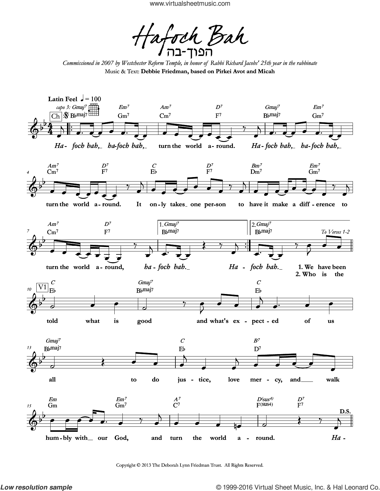 Hafoch Bah sheet music for voice and other instruments (fake book) by Debbie Friedman, intermediate
