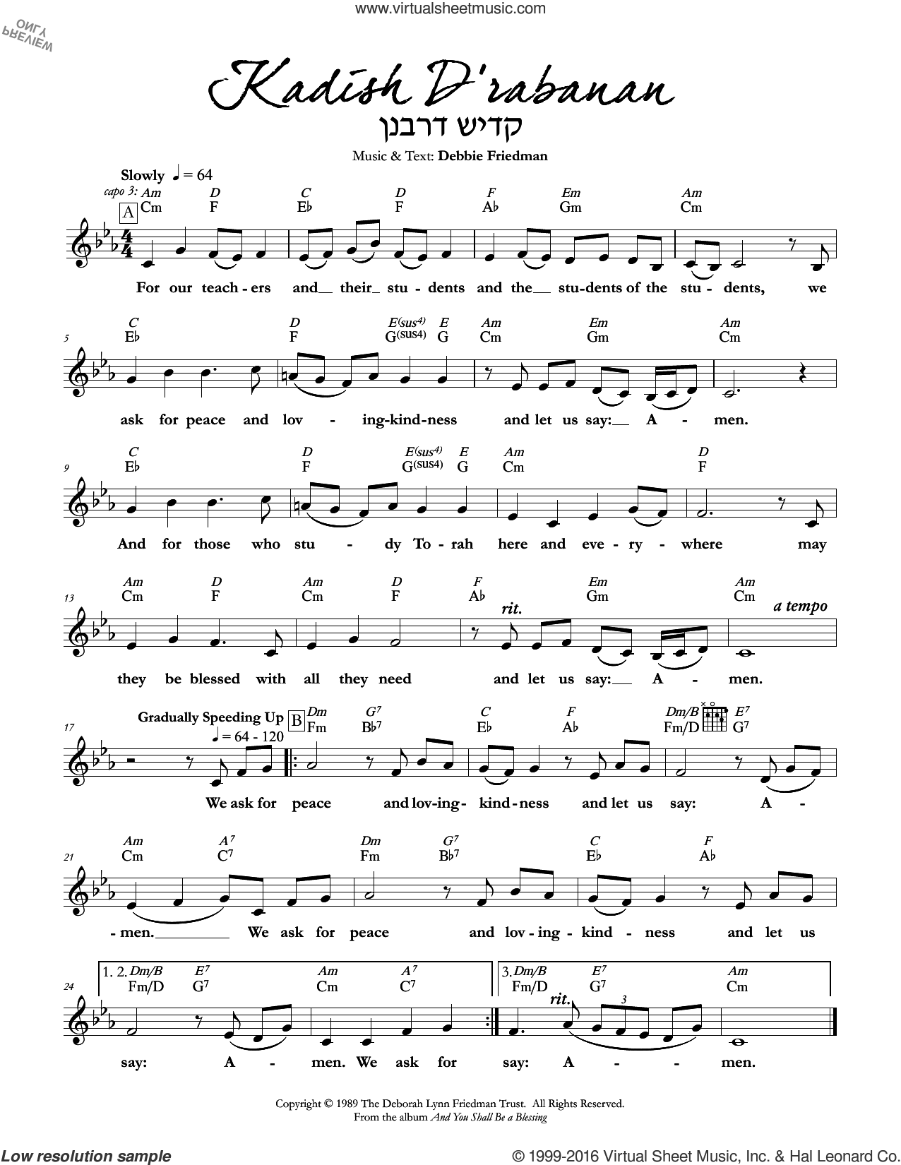 Kadish D'rabanan sheet music for voice and other instruments (fake book) by Debbie Friedman. Score Image Preview.