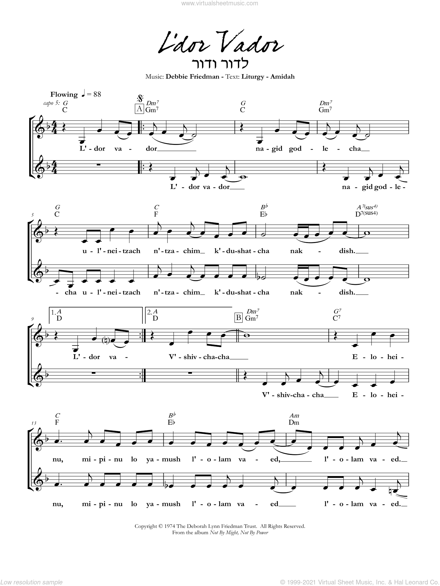 L'dor Vador sheet music for voice and other instruments (fake book) by Debbie Friedman. Score Image Preview.