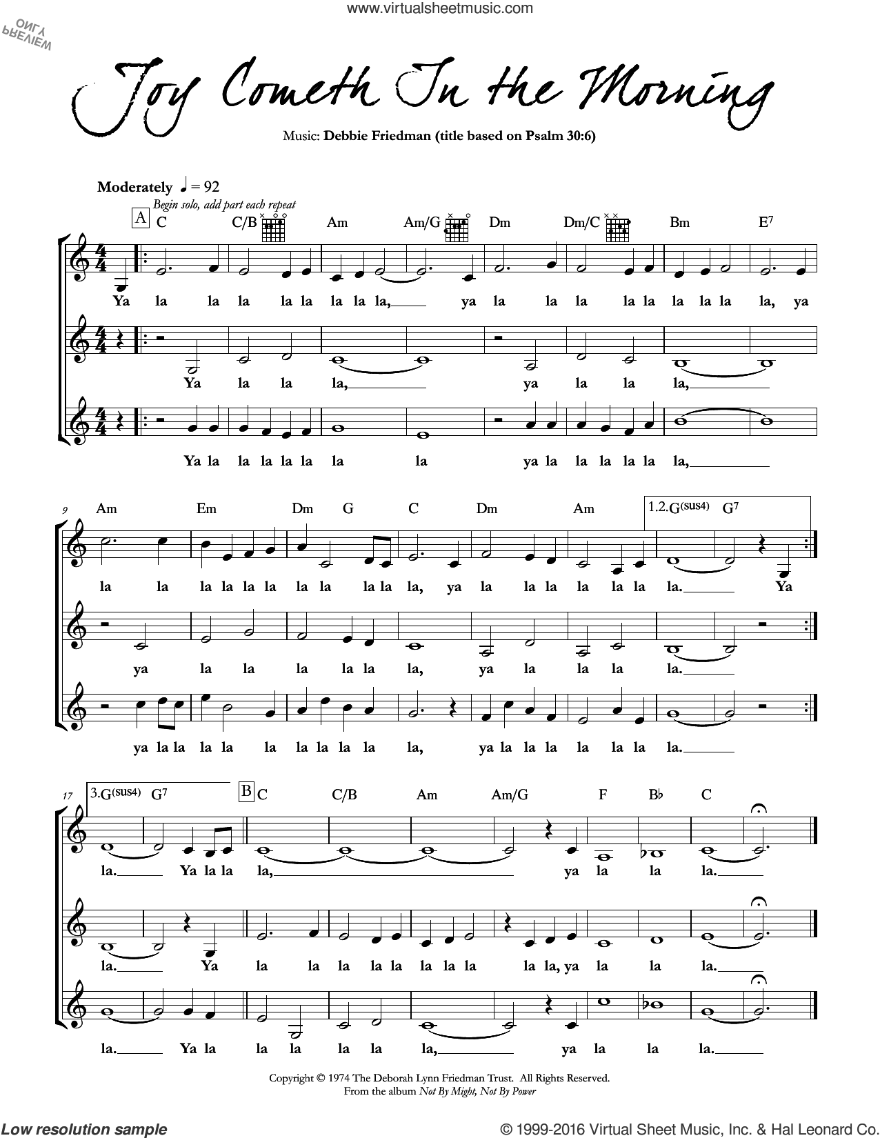 Joy Cometh In the Morning sheet music for voice and other instruments (fake book) by Debbie Friedman. Score Image Preview.