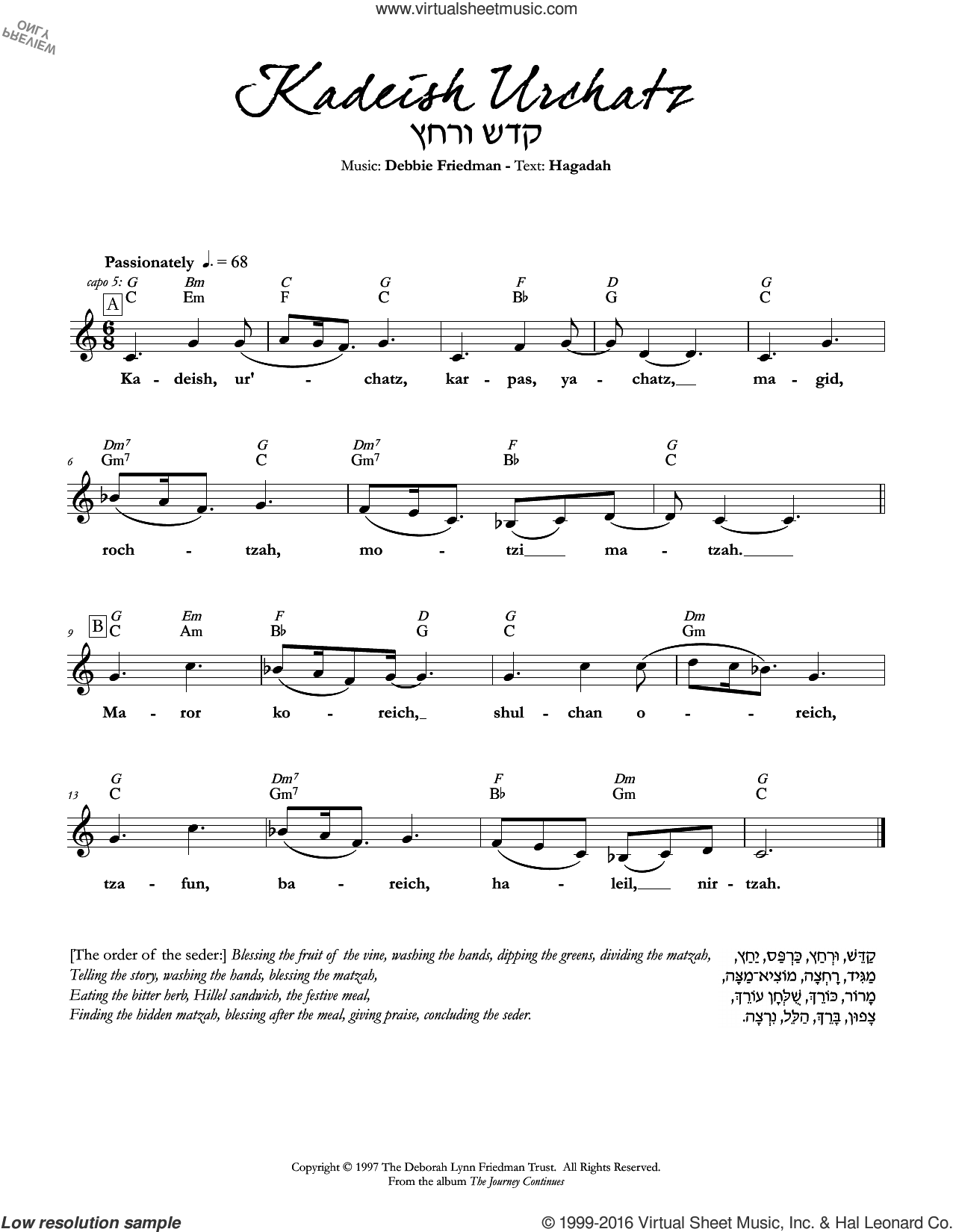 Kadeish Urchatz sheet music for voice and other instruments (fake book) by Debbie Friedman. Score Image Preview.