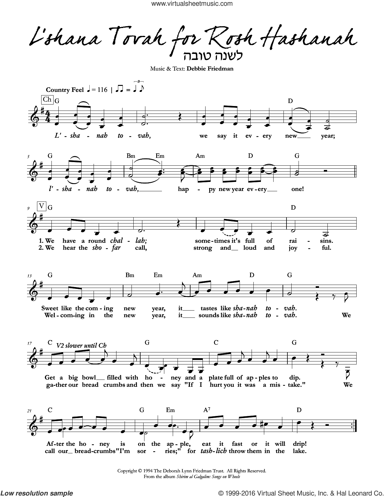 L'shana Tovah for Rosh Hashanah sheet music for voice and other instruments (fake book) by Debbie Friedman. Score Image Preview.