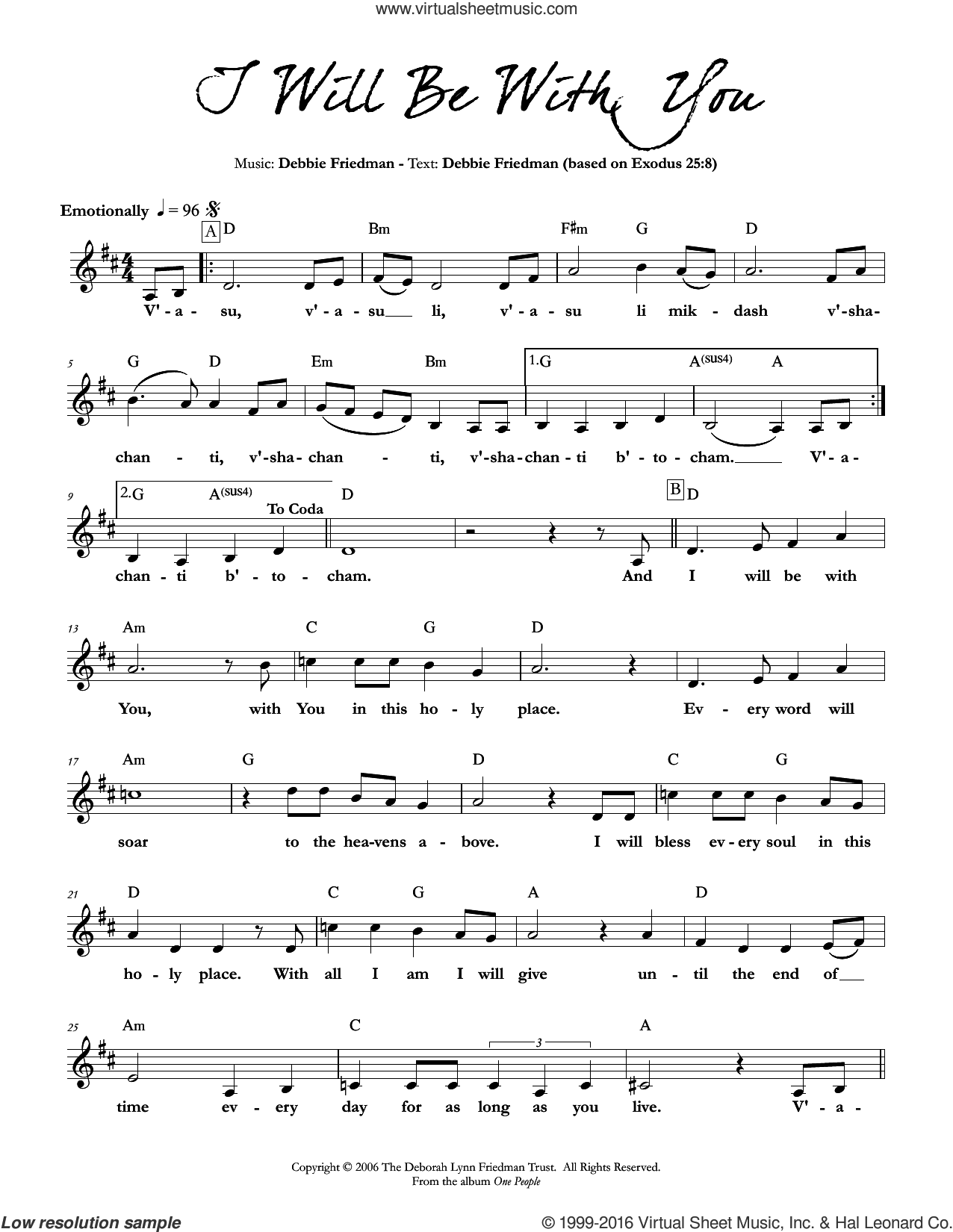 I Will Be With You sheet music for voice and other instruments (fake book) by Debbie Friedman, intermediate skill level