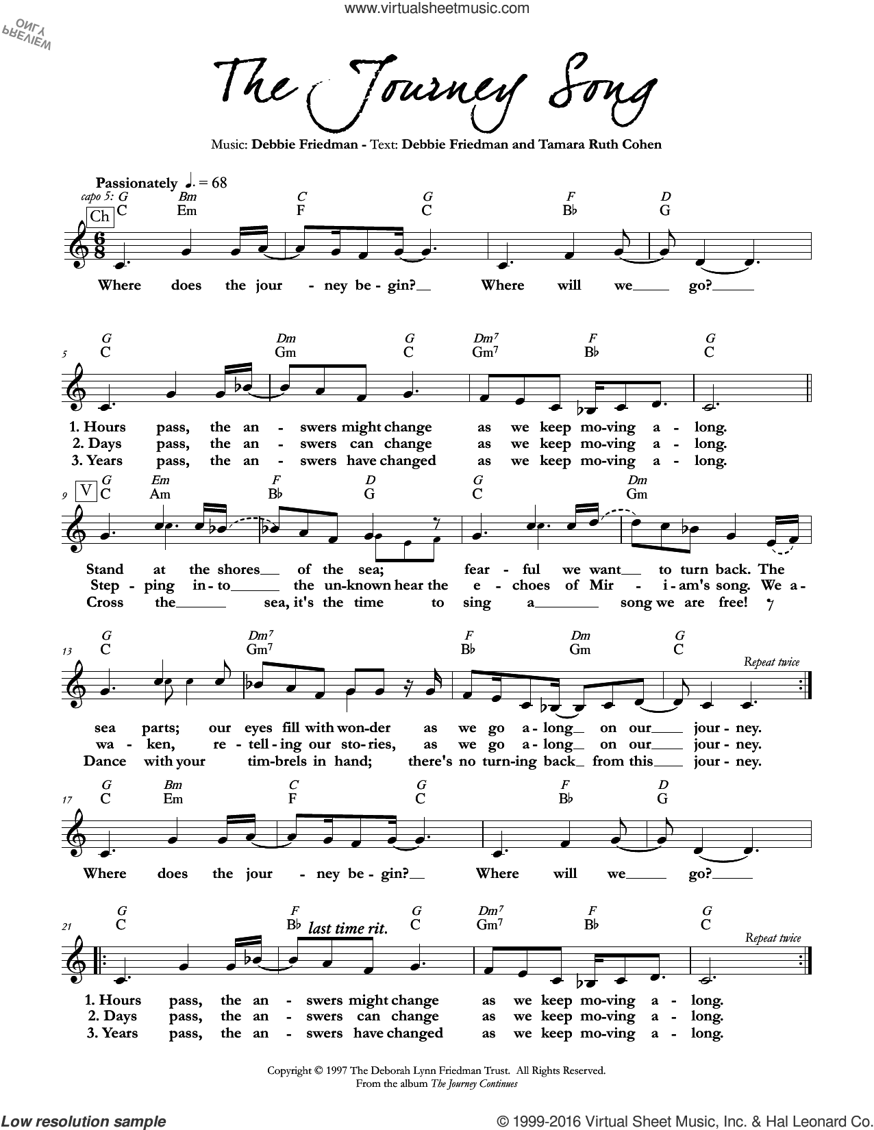 The Journey Song sheet music for voice and other instruments (fake book) by Debbie Friedman & Tamara Ruth Cohen