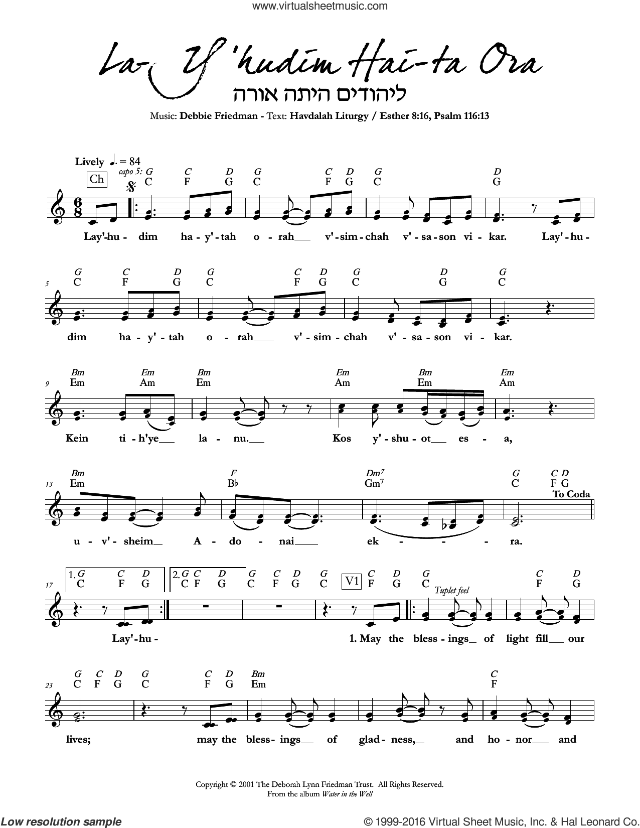 La-Y'hudim Hai-ta Ora sheet music for voice and other instruments (fake book) by Debbie Friedman, intermediate. Score Image Preview.
