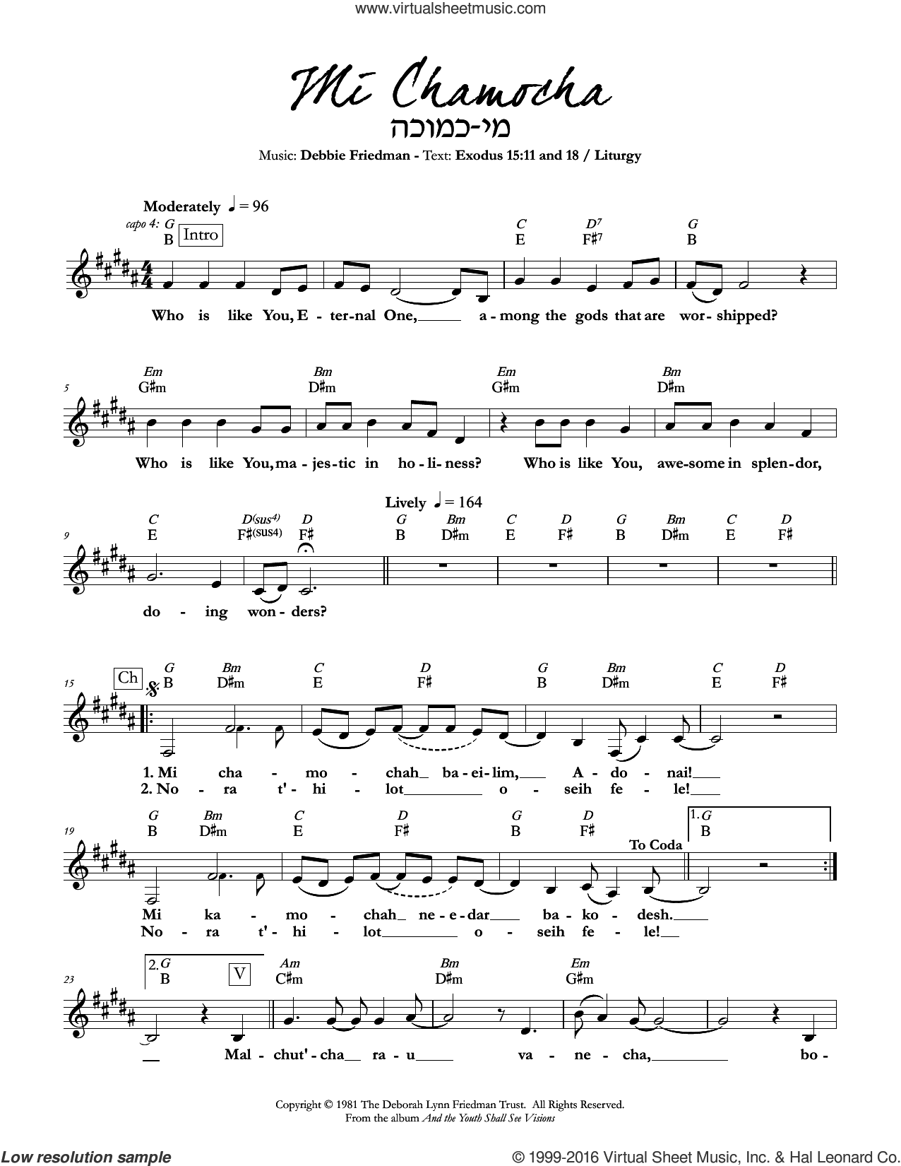 Mi Chamocha sheet music for voice and other instruments (fake book) by Debbie Friedman. Score Image Preview.