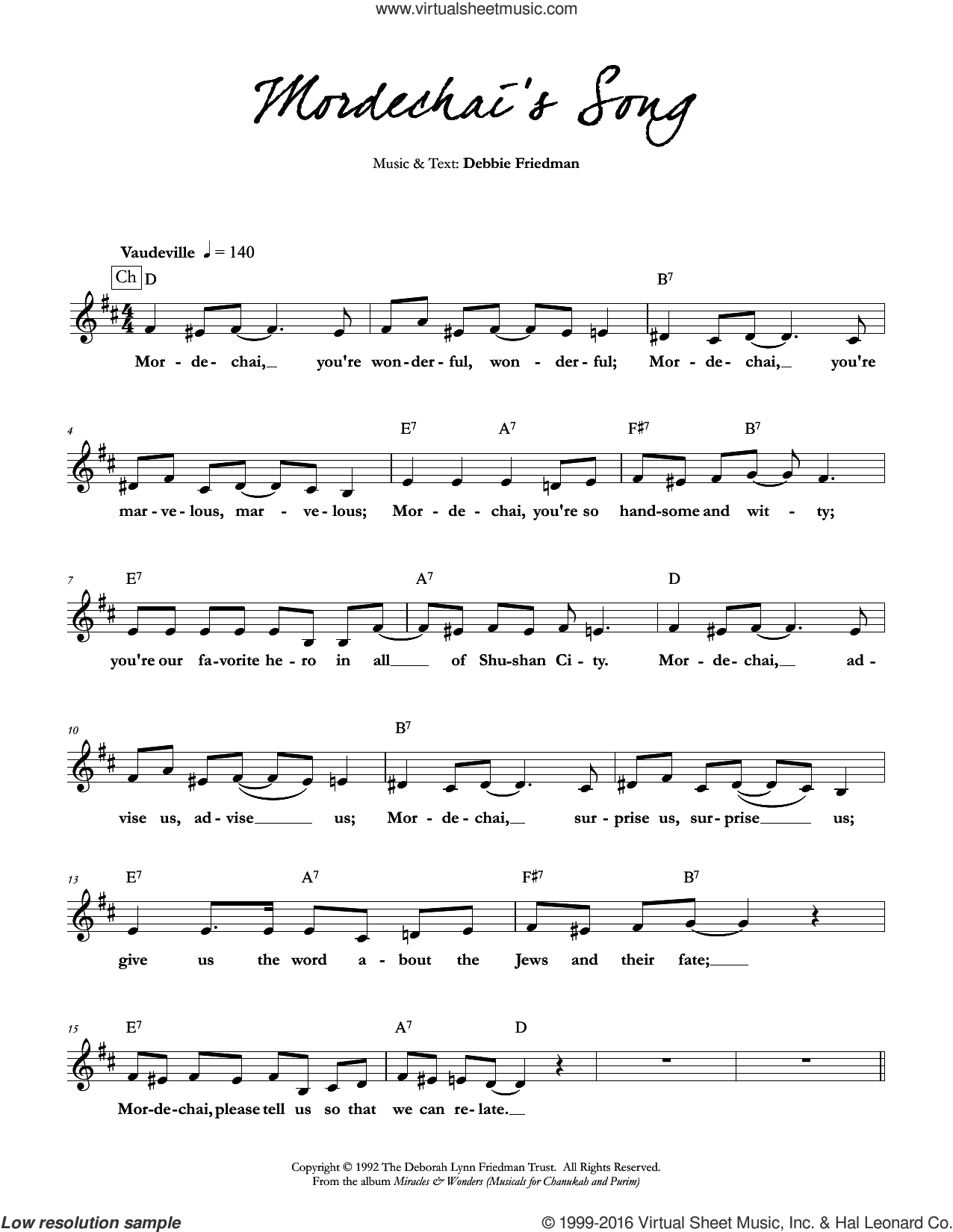 Mordechai's Song sheet music for voice and other instruments (fake book) by Debbie Friedman, intermediate skill level