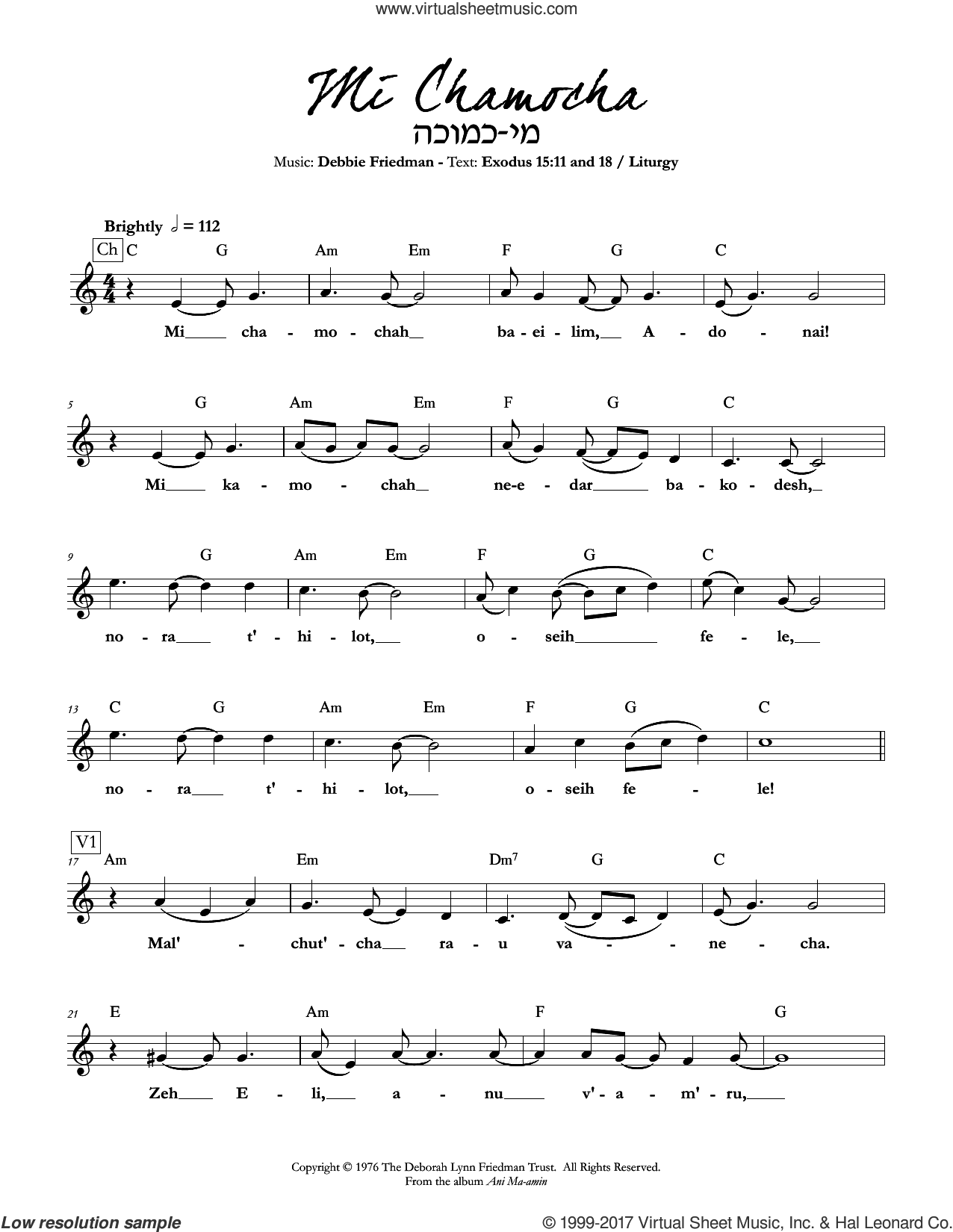 Mi Chamocha sheet music for voice and other instruments (fake book) by Debbie Friedman, intermediate. Score Image Preview.