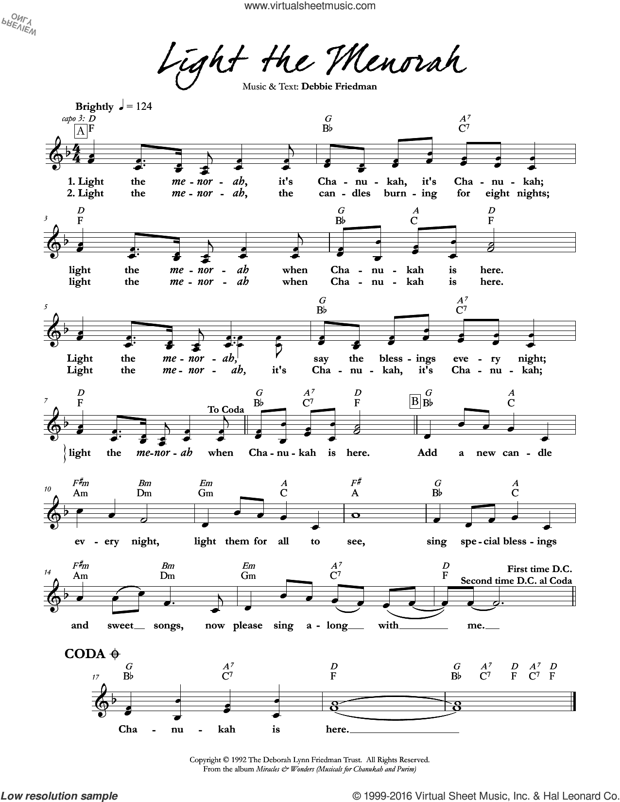 Light the Menorah sheet music for voice and other instruments (fake book) by Debbie Friedman. Score Image Preview.