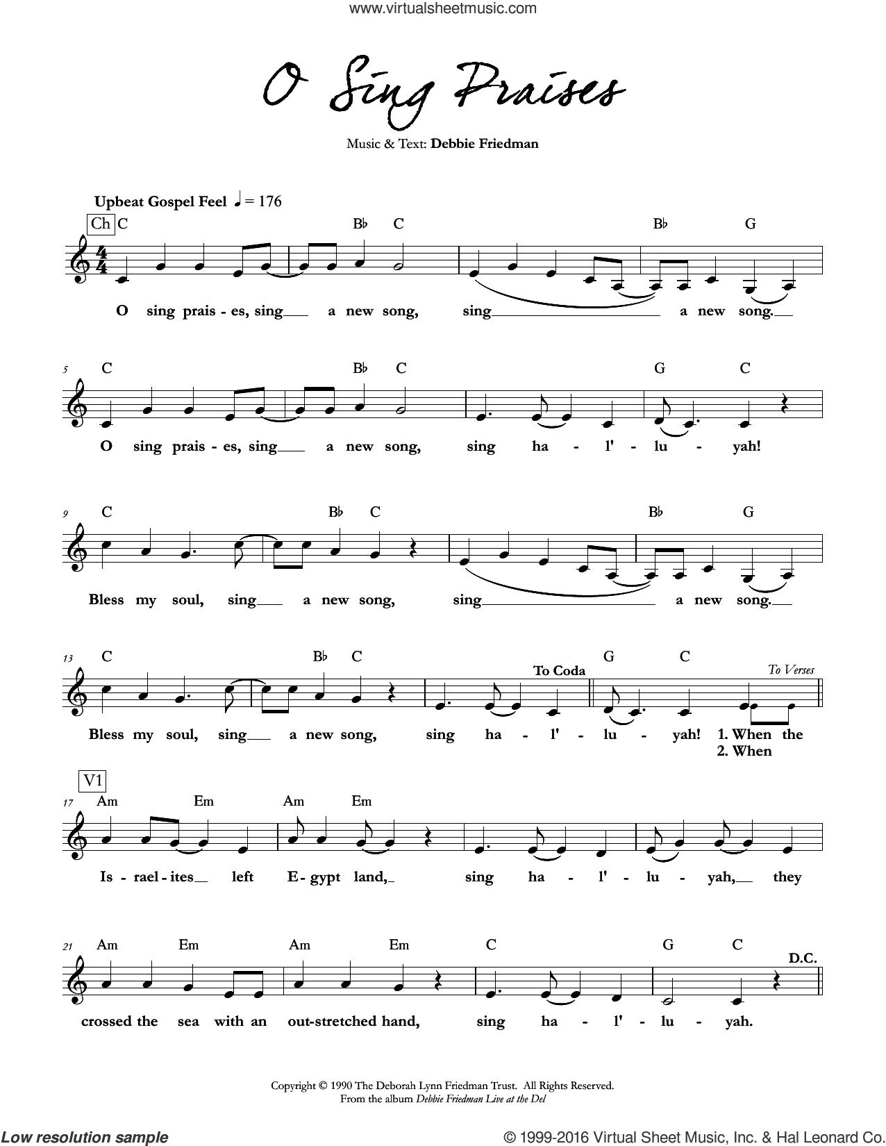 O Sing Praises sheet music for voice and other instruments (fake book) by Debbie Friedman, intermediate skill level