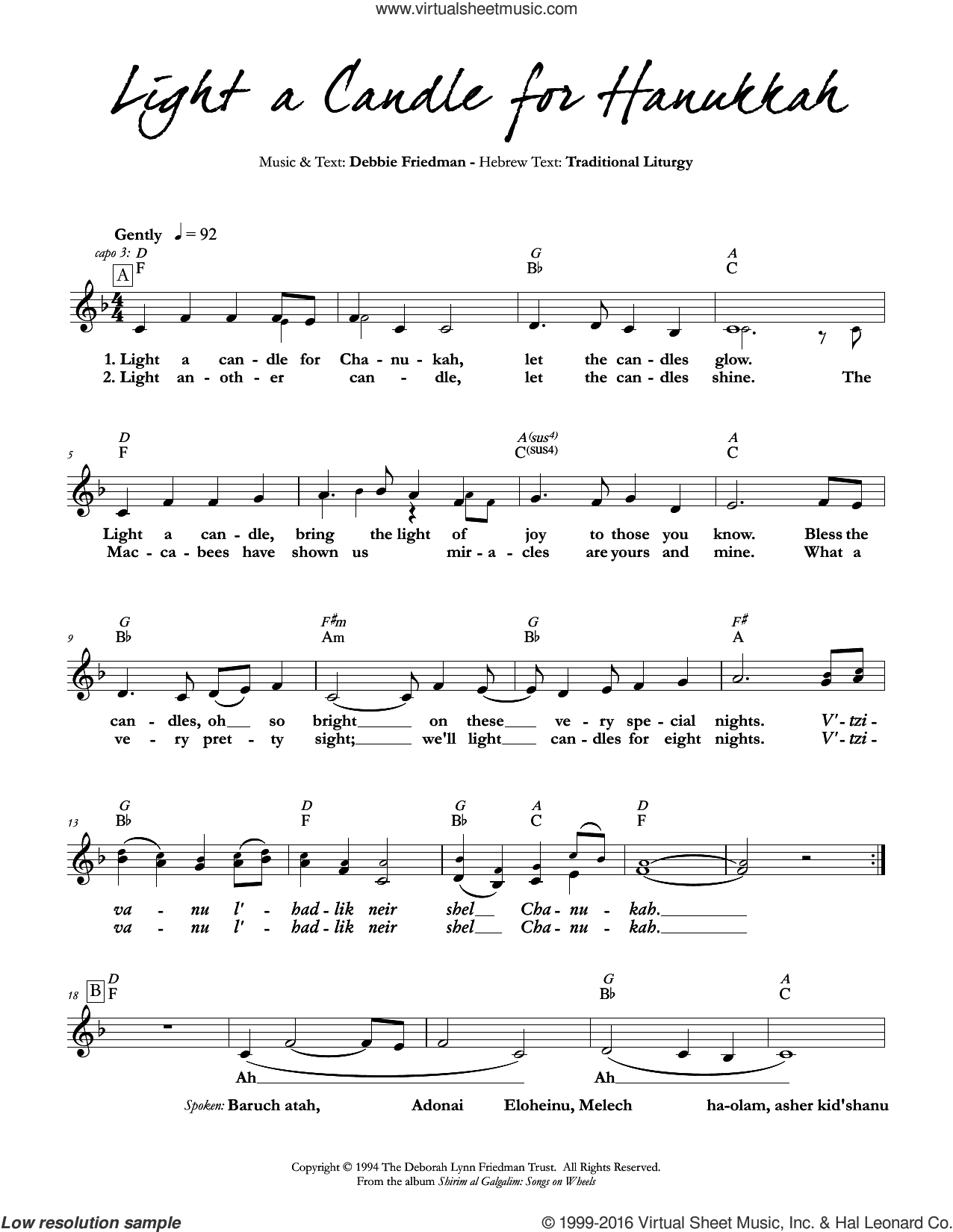 Light a Candle for Hanukkah sheet music for voice and other instruments (fake book) by Debbie Friedman, intermediate skill level
