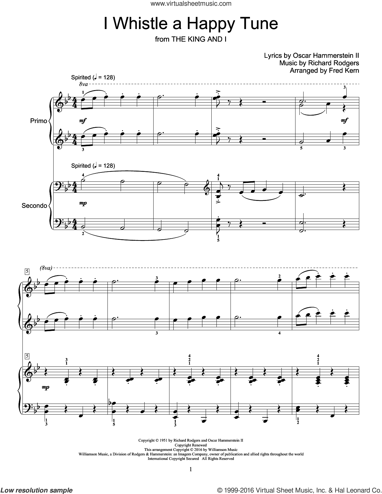 I Whistle A Happy Tune sheet music for piano four hands by Richard Rodgers, Fred Kern and Oscar II Hammerstein, intermediate skill level