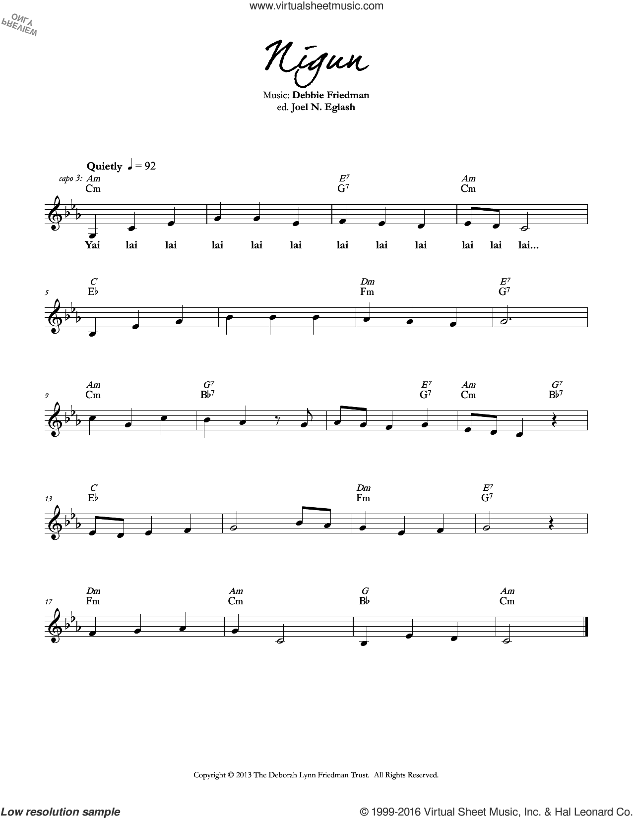 Nigun sheet music for voice and other instruments (fake book) by Debbie Friedman. Score Image Preview.
