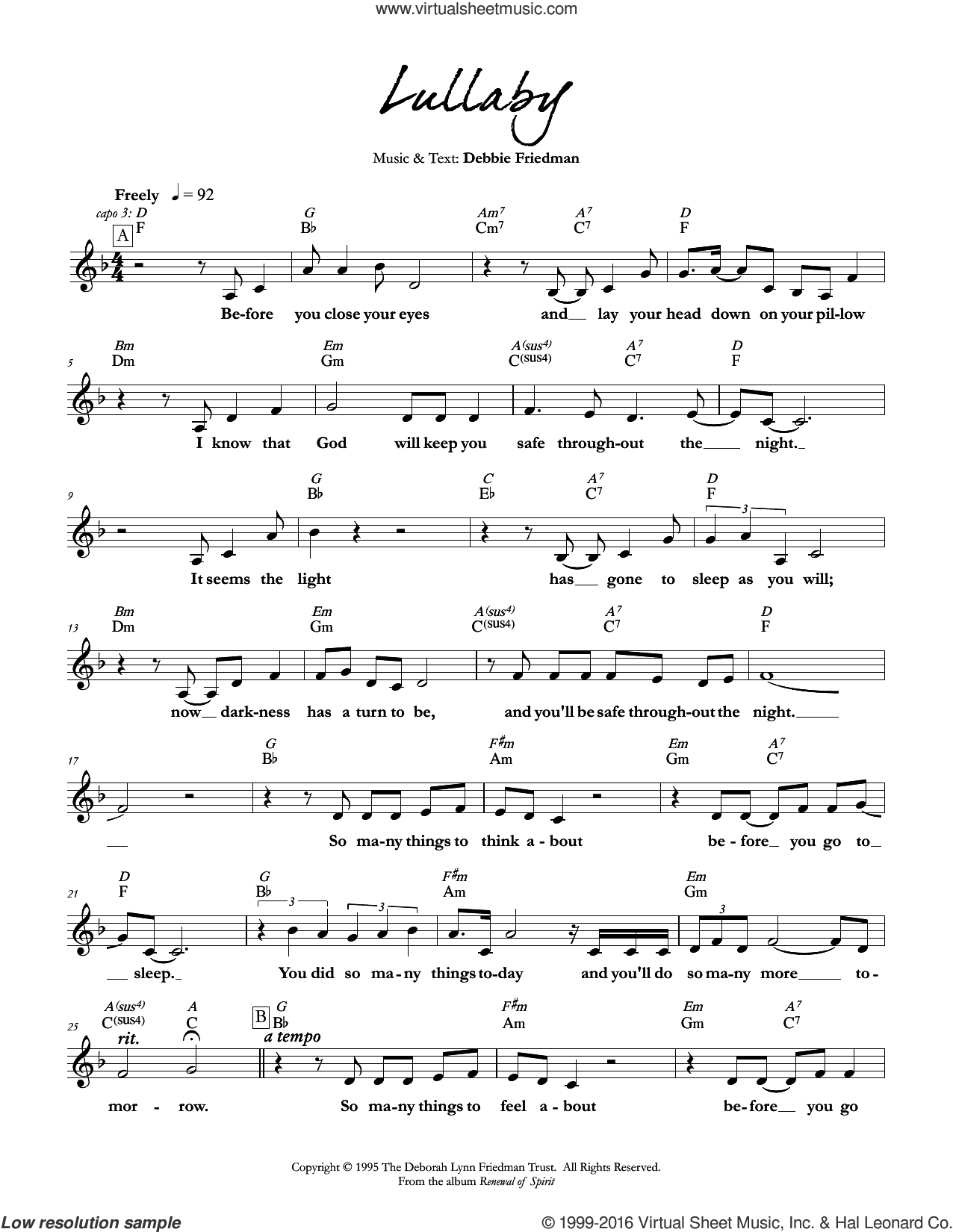 Lullaby sheet music for voice and other instruments (fake book) by Debbie Friedman. Score Image Preview.
