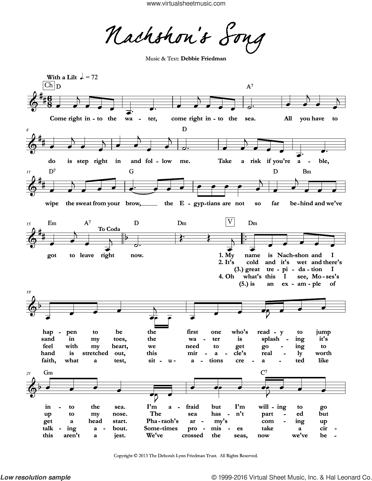 Nachshon's Song sheet music for voice and other instruments (fake book) by Debbie Friedman. Score Image Preview.
