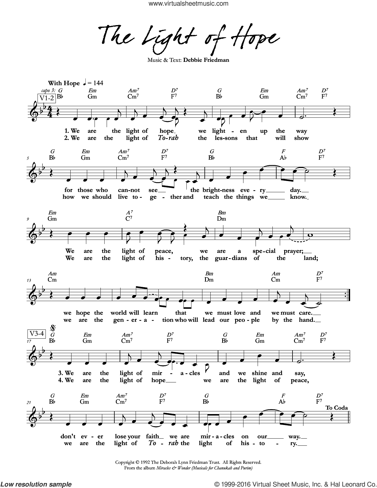 The Light of Hope sheet music for voice and other instruments (fake book) by Debbie Friedman. Score Image Preview.