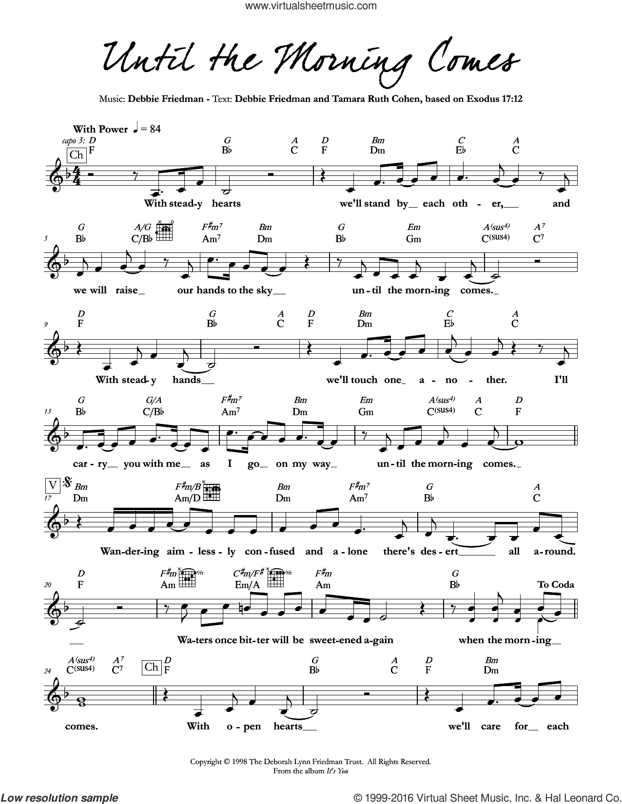 Until the Morning Comes sheet music for voice and other instruments (fake book) by Debbie Friedman & Tamara Ruth Cohen and Debbie Friedman. Score Image Preview.